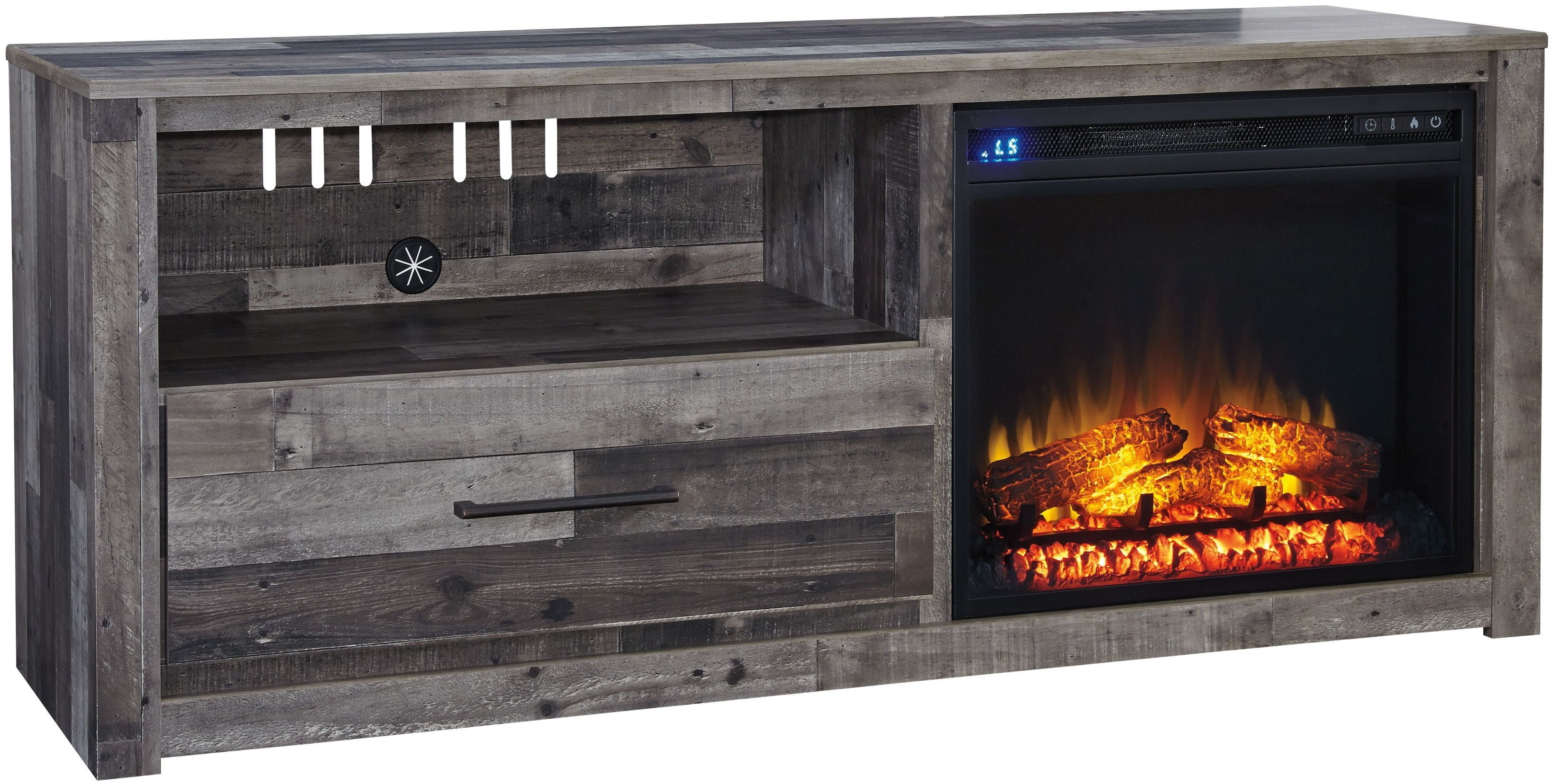 Derekson Gray LG TV Stand with Fireplace Insert from Ashley | Coleman Furniture