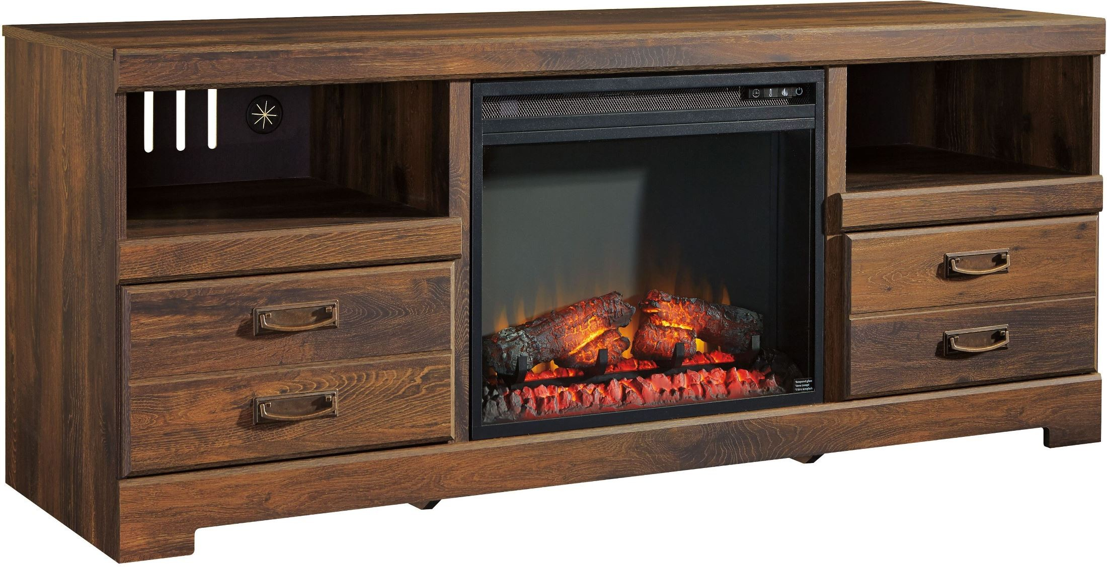 Quinden Lg Tv Stand With Glass Stone Fireplace Insert From Ashley W246 68 W100 02 Coleman