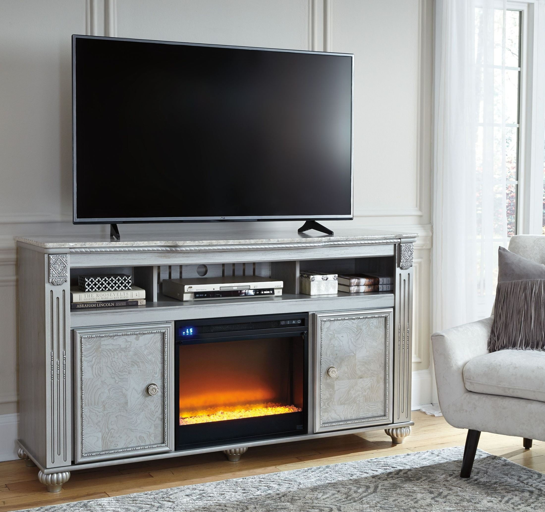 canada wood grey stand with walker driftwood walmart ip en fireplace edison tv center console media