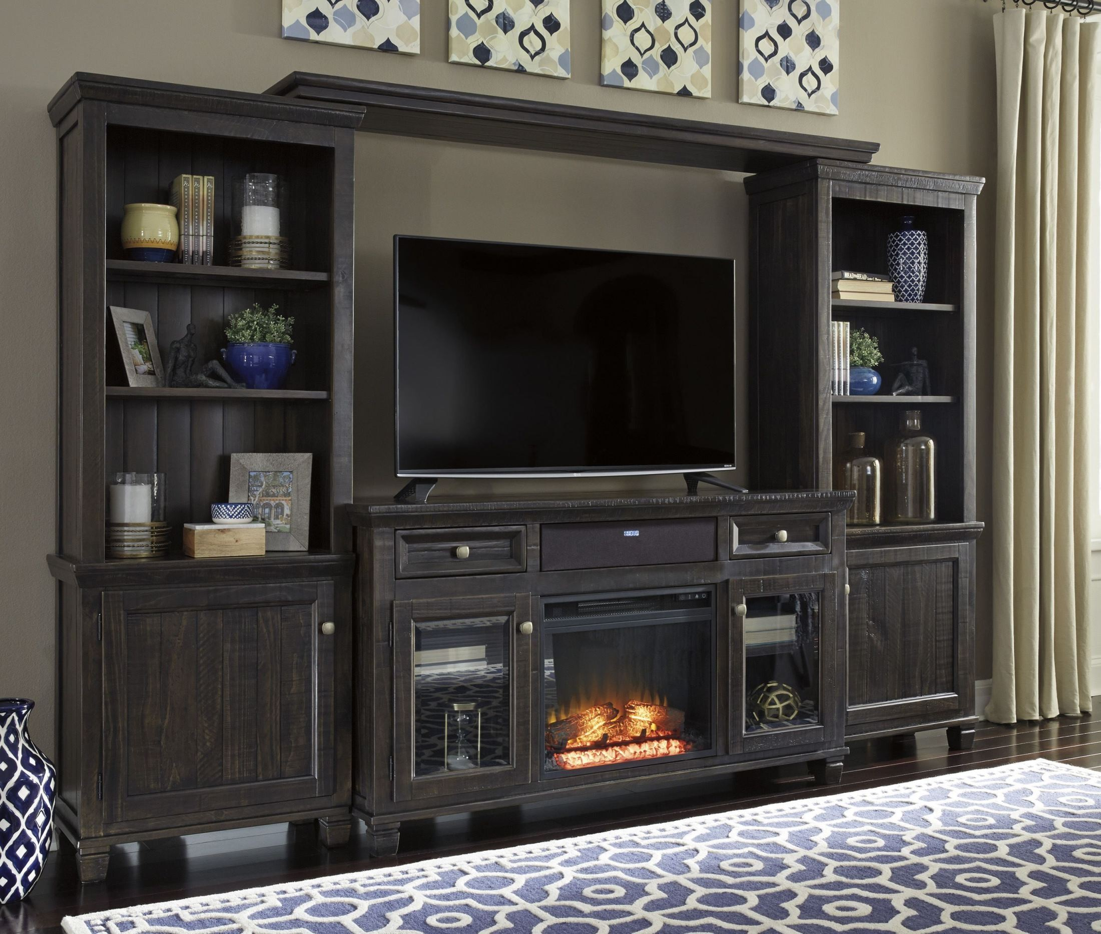 Home Entertainment Wall Units townser waxy grayish brown large entertainment wall unit from
