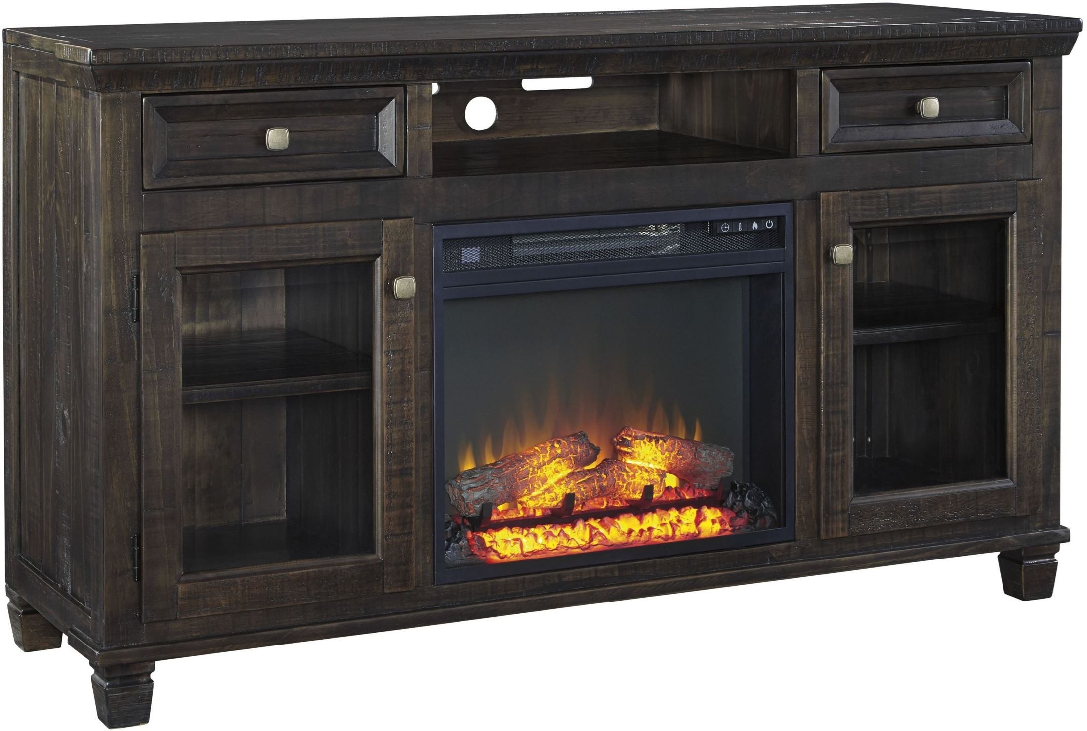 Townser Waxy Grayish Brown Large Tv Stand With Fireplace