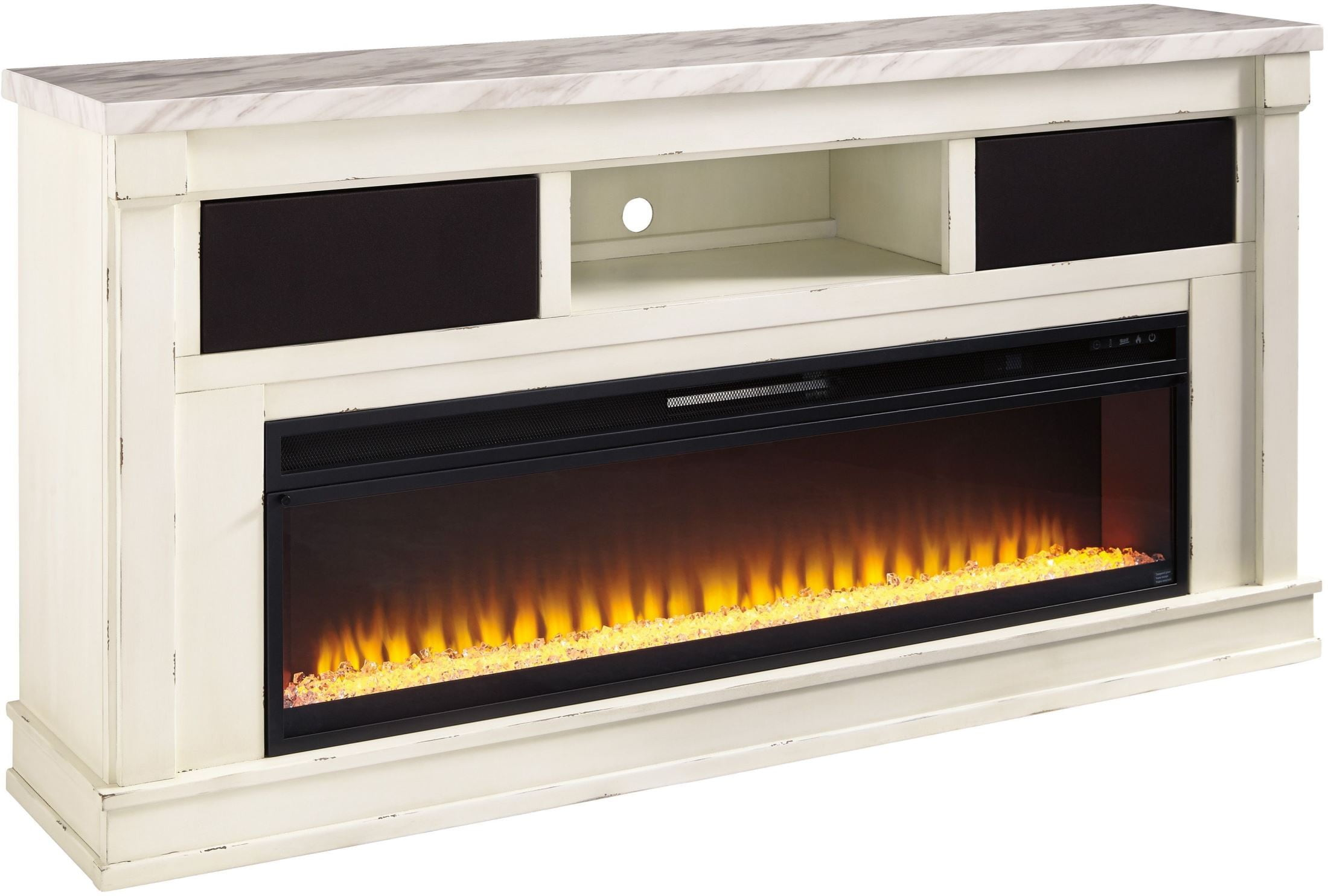 Becklyn Chipped White Xl Tv Stand With Wide Fireplace Insert From