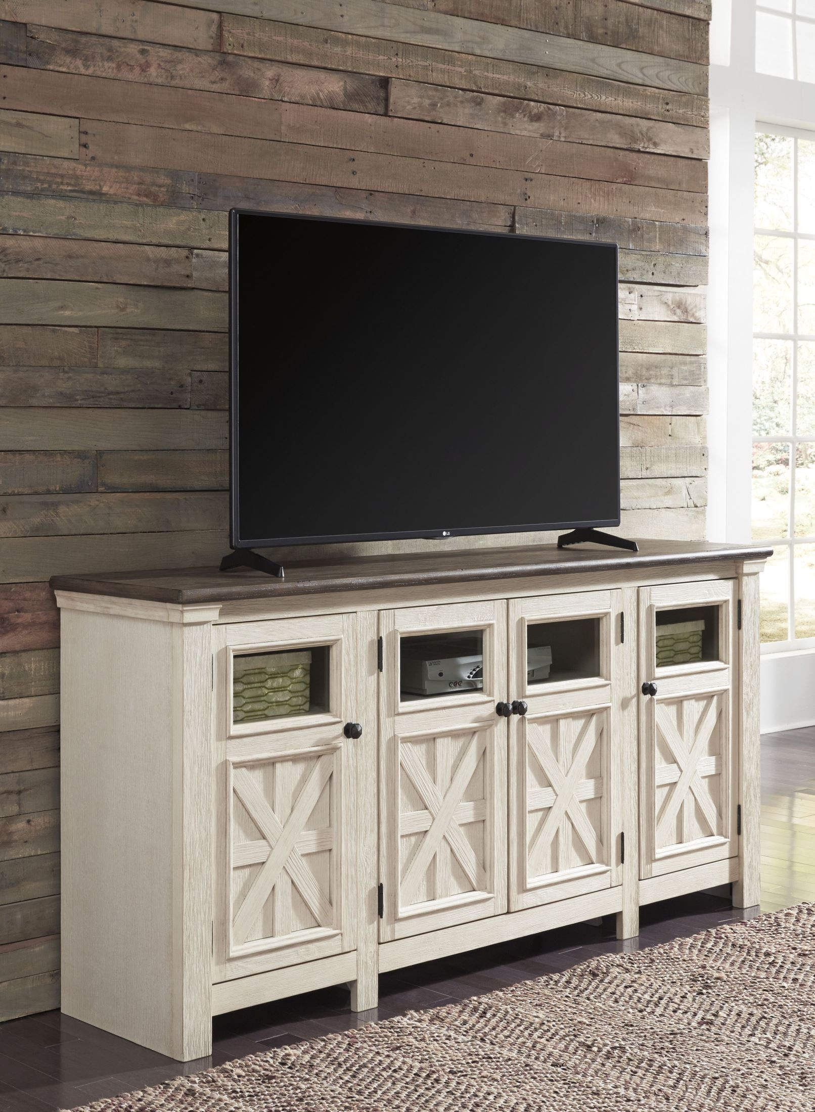 Bolanburg weathered gray extra large tv stand from ashley - Dresser as tv stand in living room ...