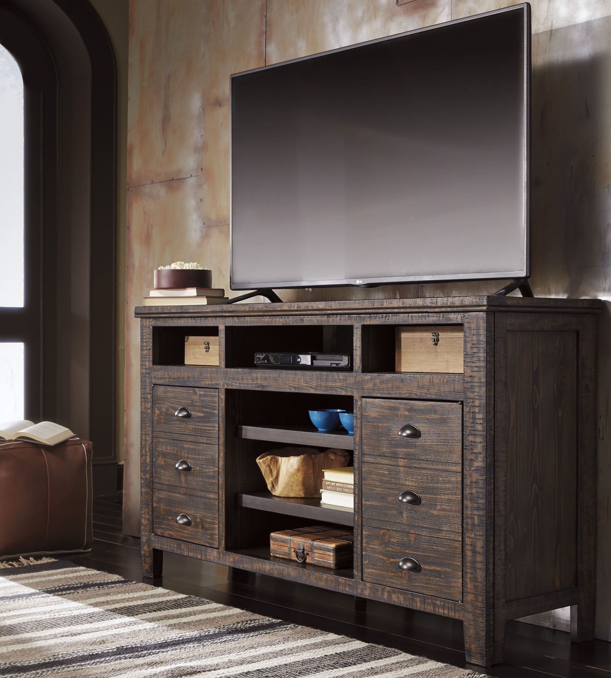 trudell dark brown tv stand from ashley | coleman furniture