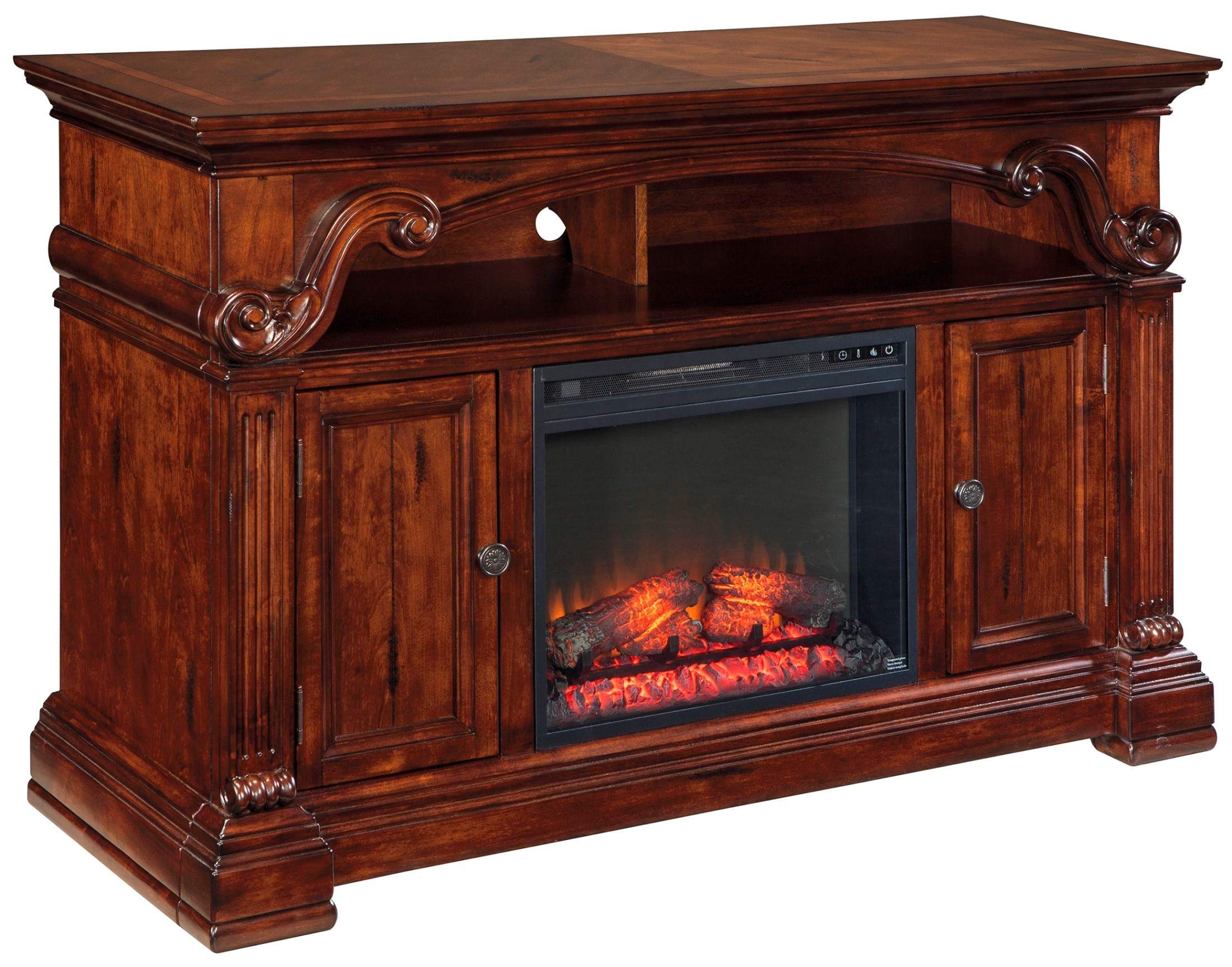 Alymere Lg Tv Stand With Glass Stone Fireplace Insert From Ashley W669 68 W100 02 Coleman