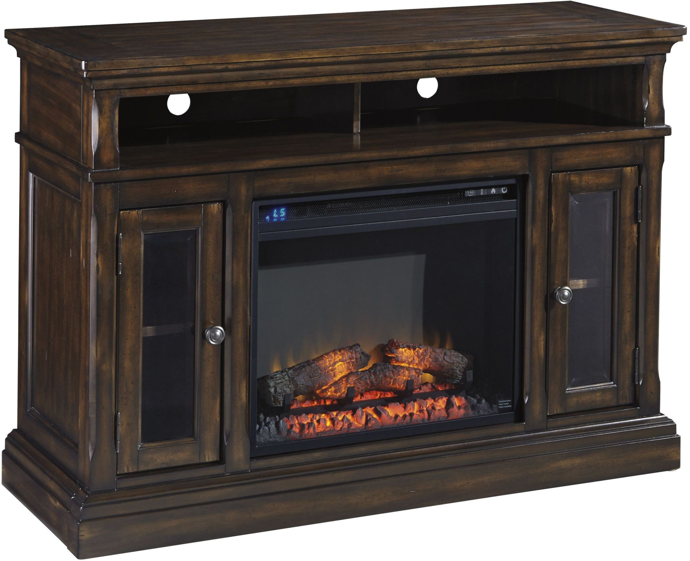 Roddinton dark brown medium tv stand with fireplace and for Fireplace options