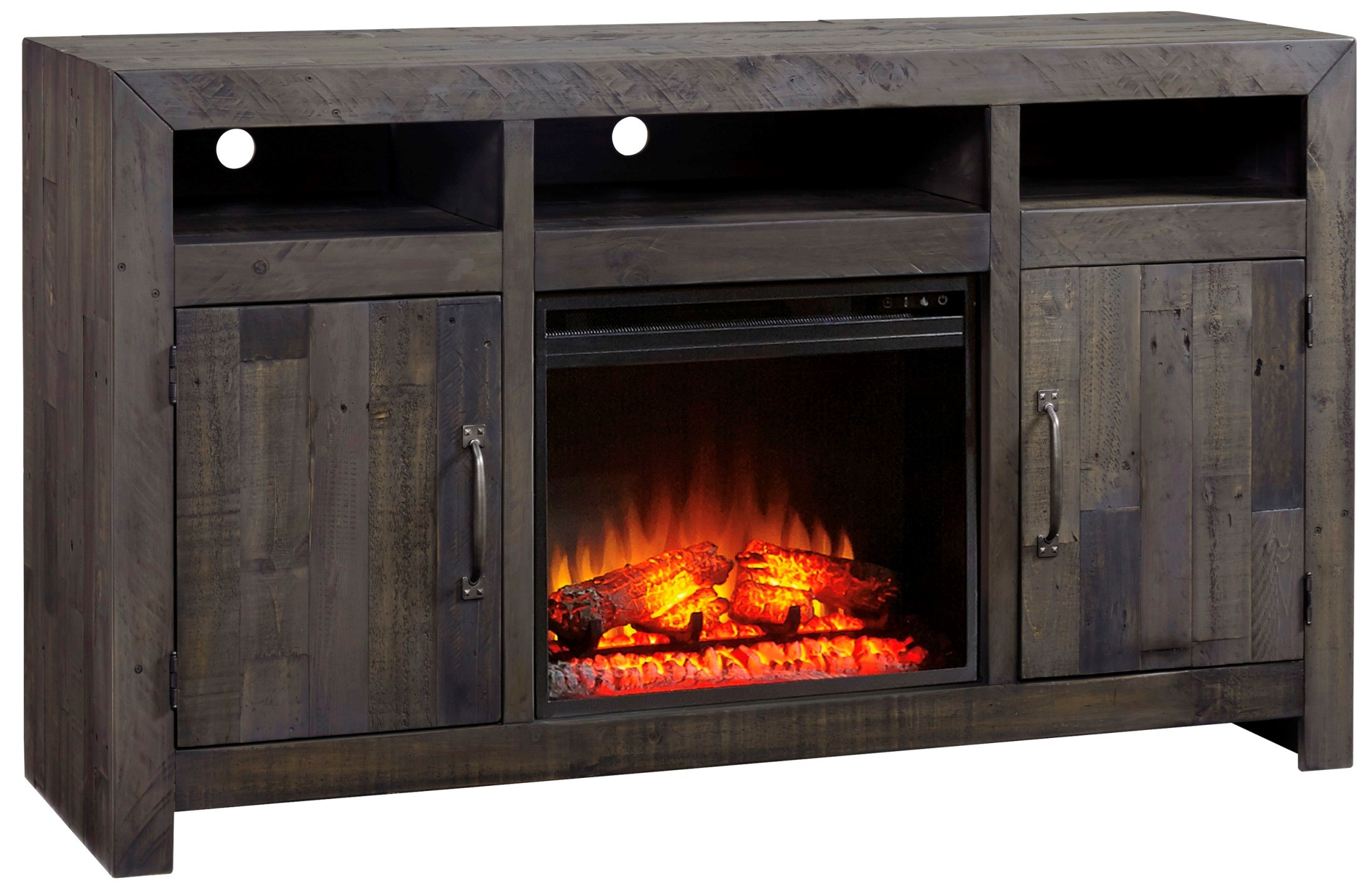Mayflyn industrial gray lg tv stand with fireplace option for Fireplace options