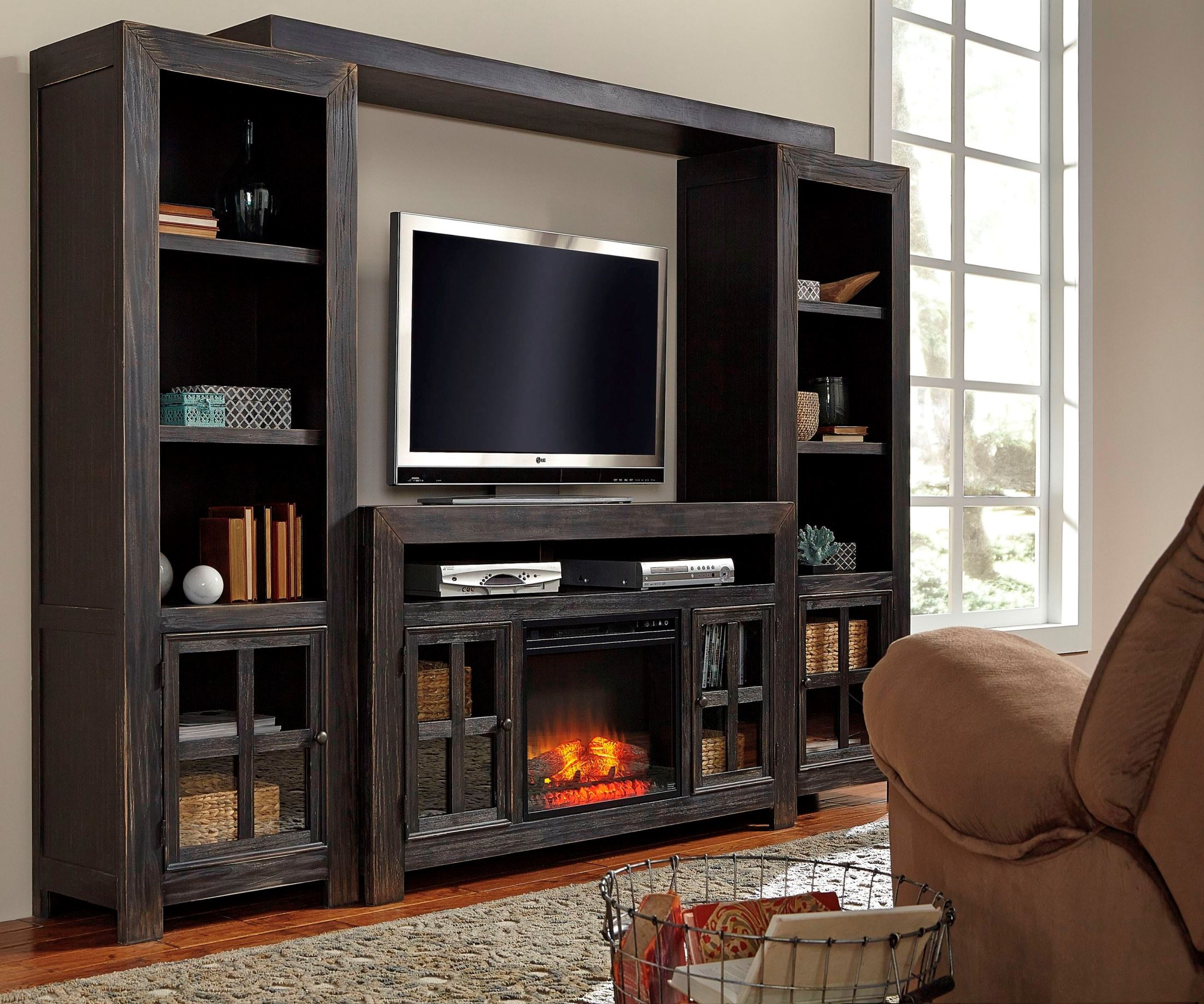 Gavelston entertainment wall with fireplace option from for Fireplace options