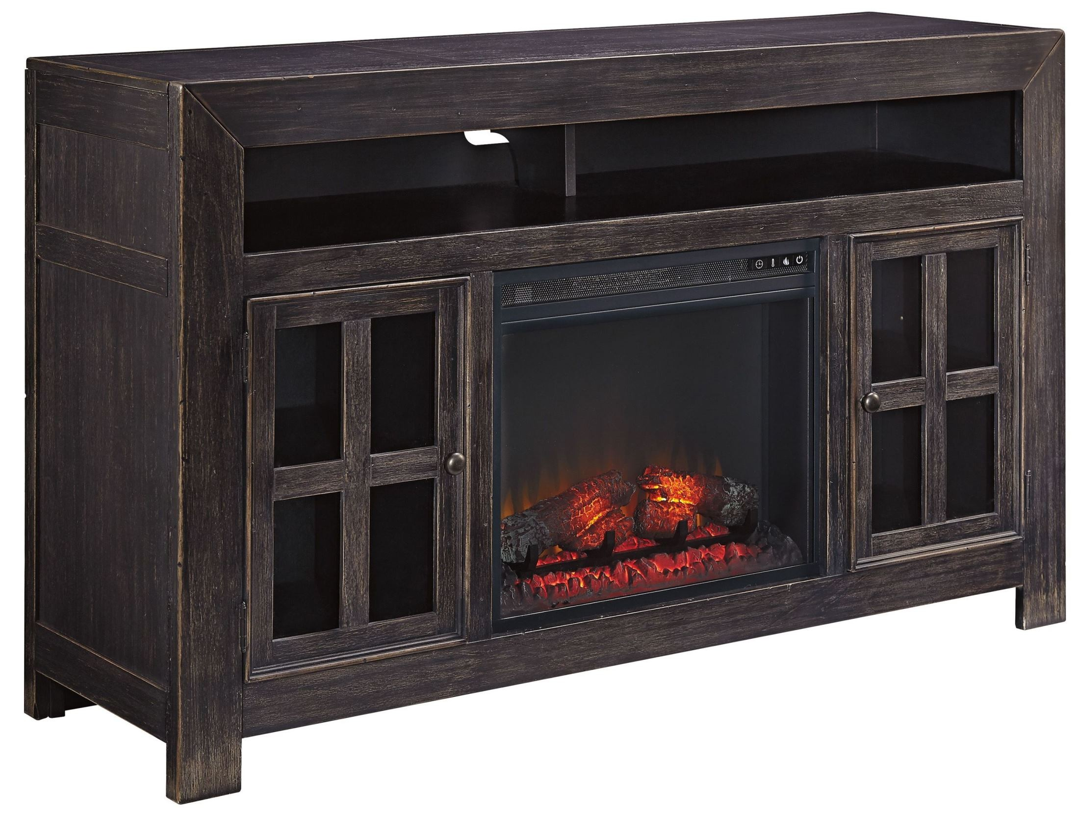 Gavelston lg tv stand with glass stone fireplace insert for Fireplace insert options