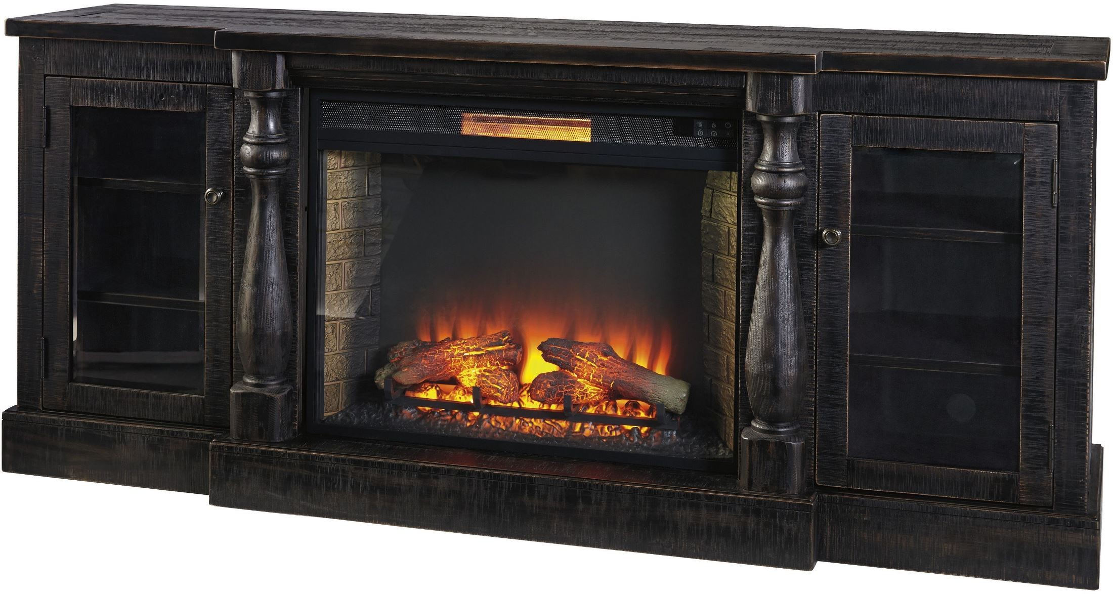 mallacar black rub through xl tv stand with fireplace insert from