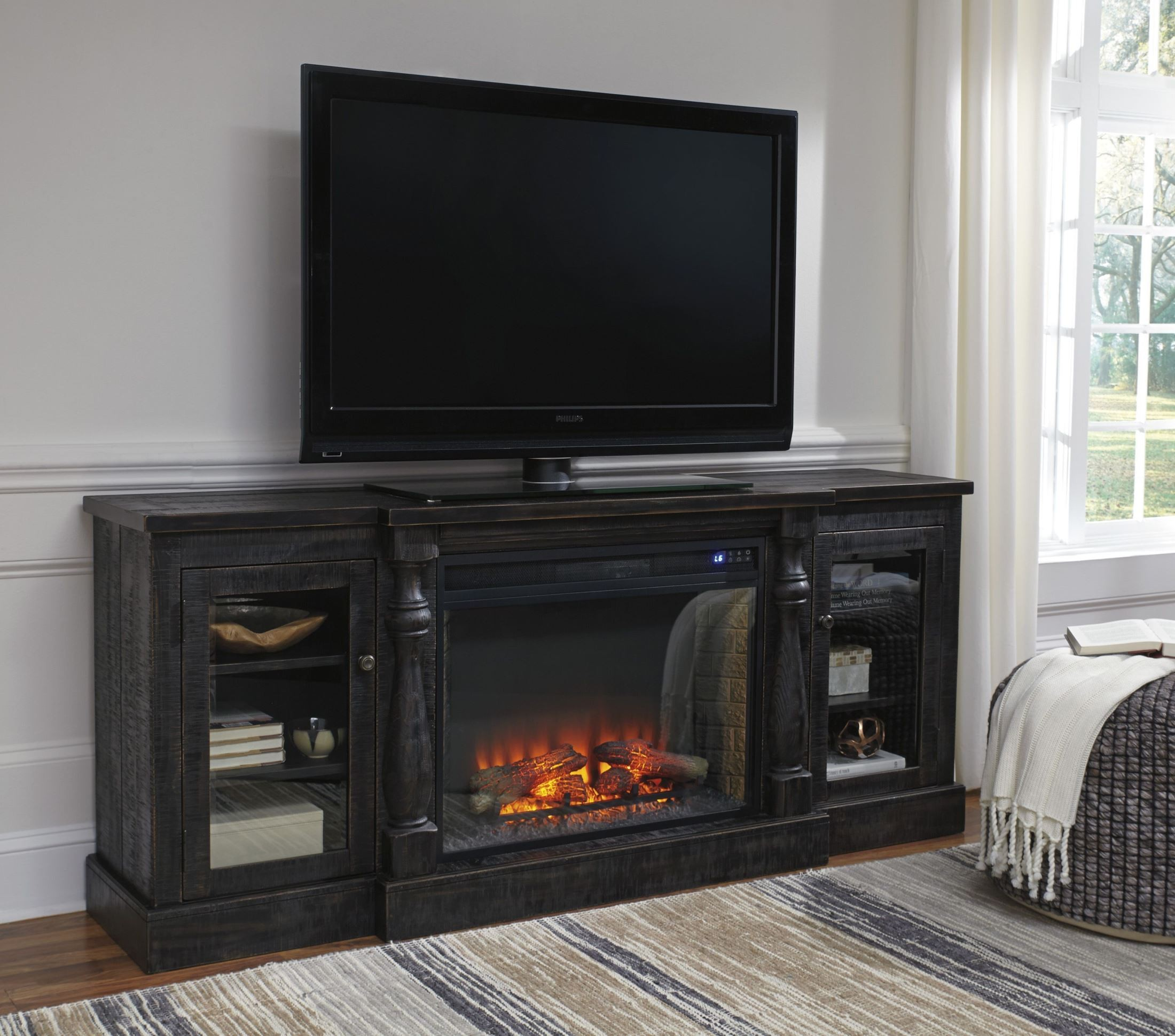 Mallacar black rub through xl tv stand with fireplace for Fireplace insert options