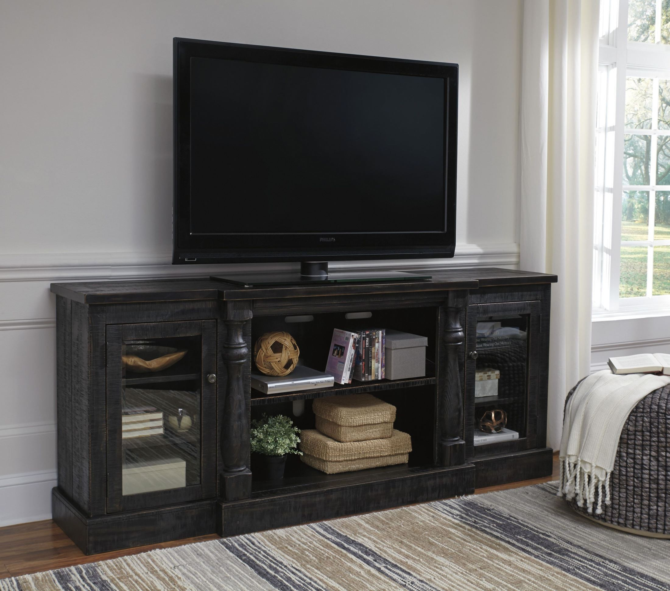 Direct Plus Furniture: Mallacar Black Rub Through XL TV Stand With Fireplace