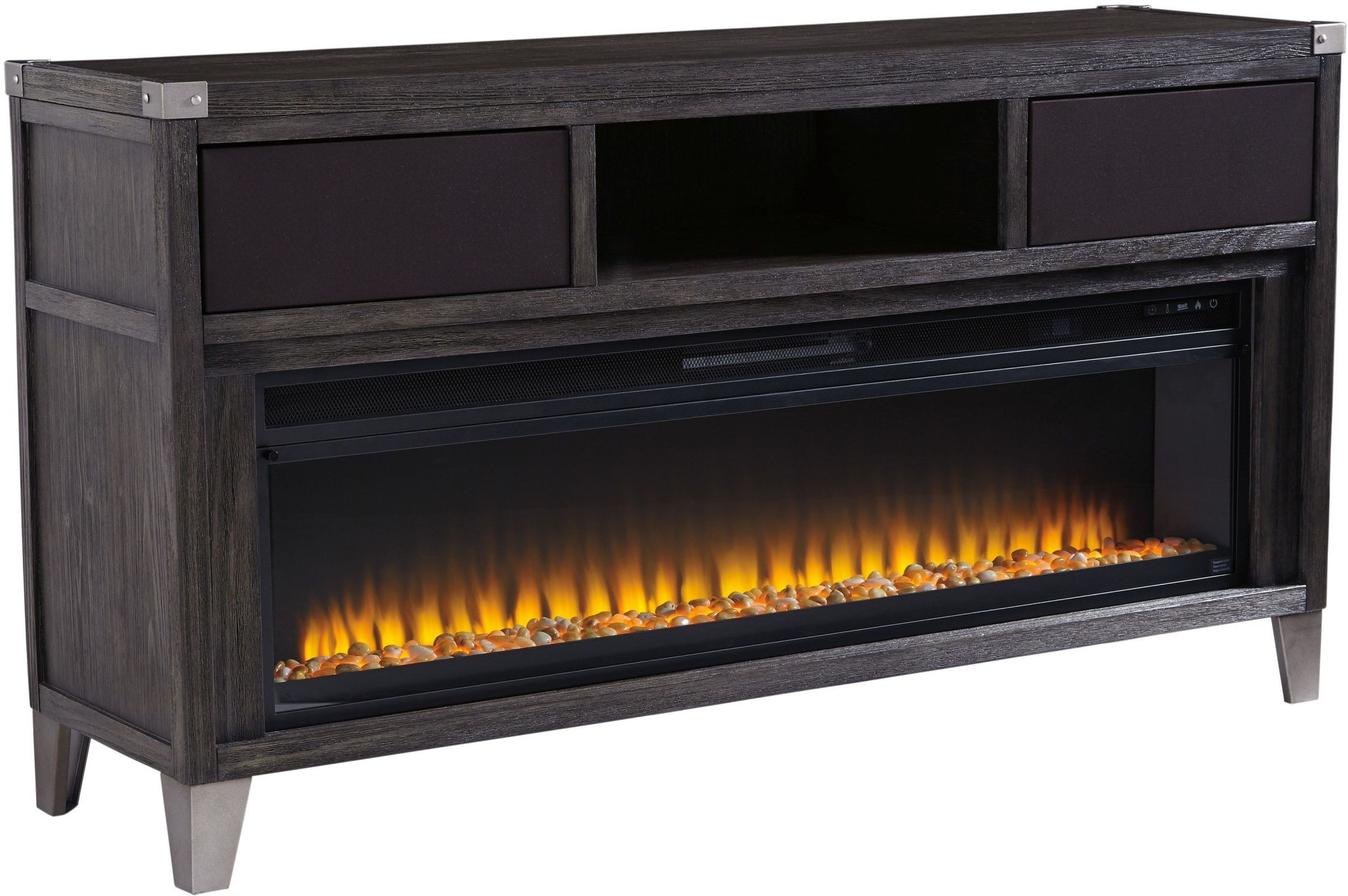 Todoe Gray Lg Tv Stand With Wide Fireplace Insert From Ashley