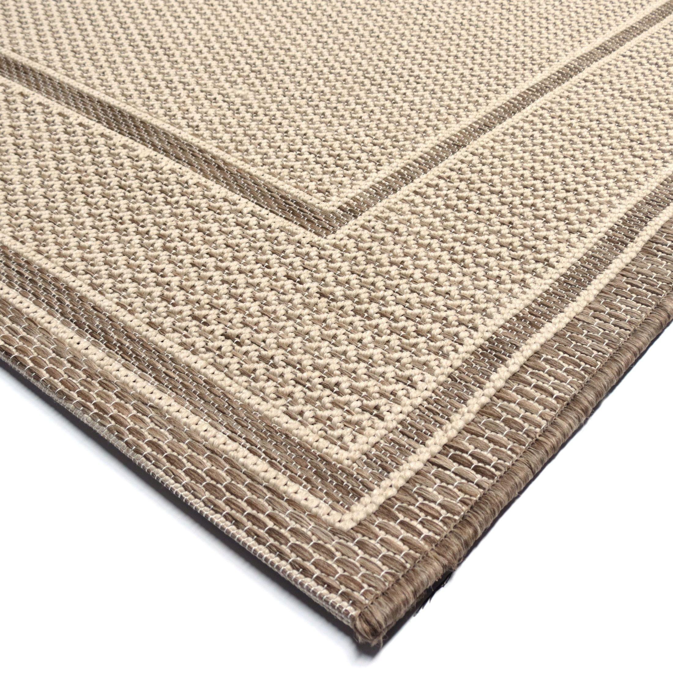 Discount 8x11 Area Rugs: Jersey Home Indoor/Outdoor Border Bonita Tan Large Area