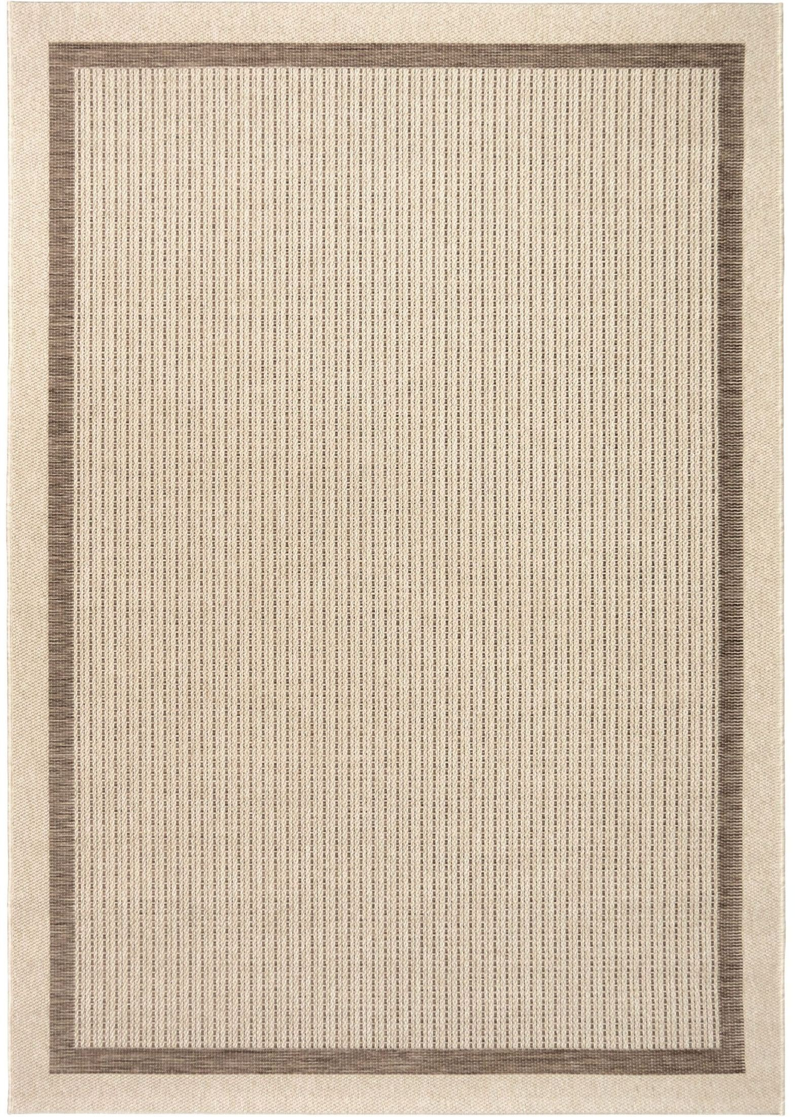 Jersey Home Indoor Outdoor Border Aviva Tan Large Area Rug