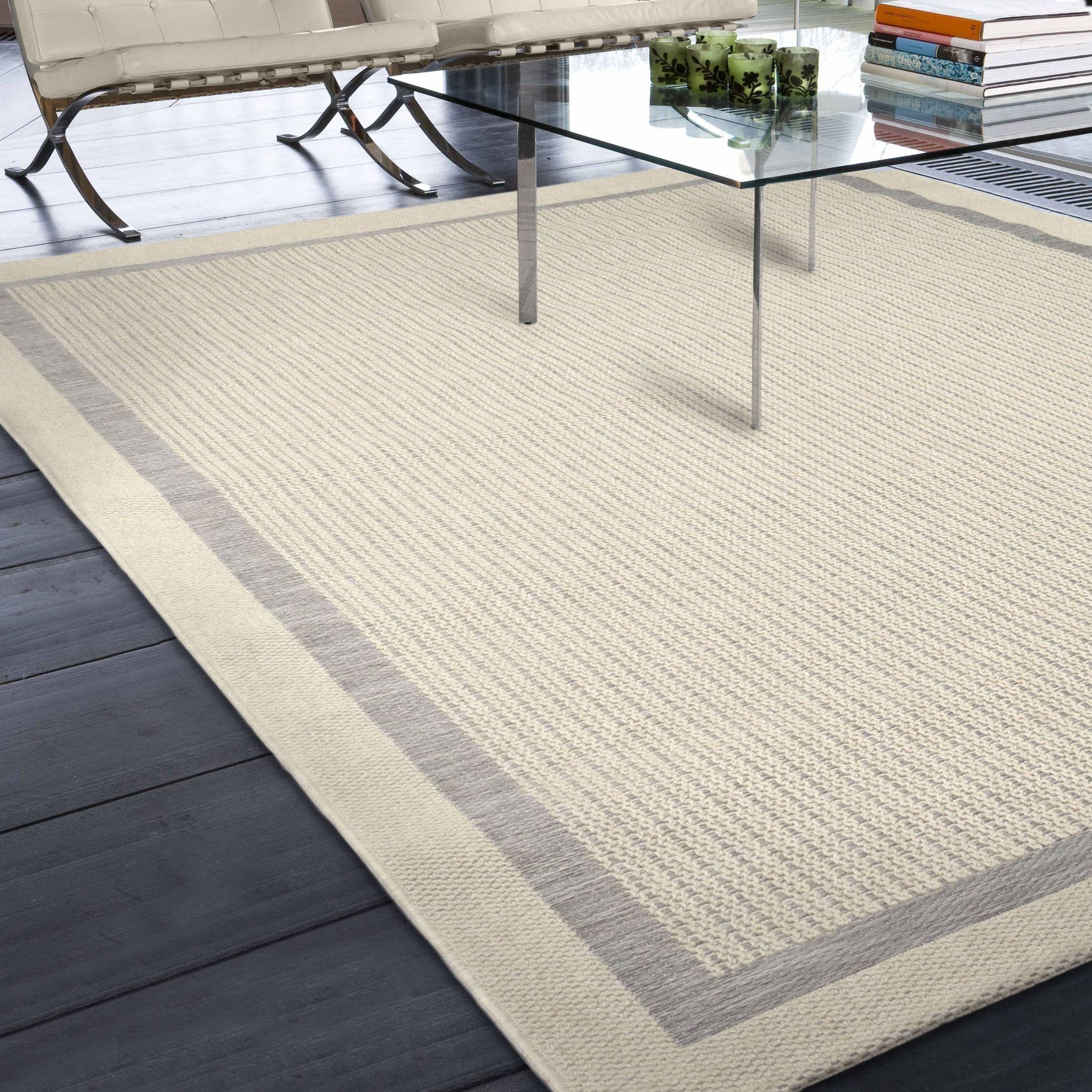 Border Braided Indoor Outdoor Rug: Jersey Home Indoor/Outdoor Border Aviva Gray Large Area