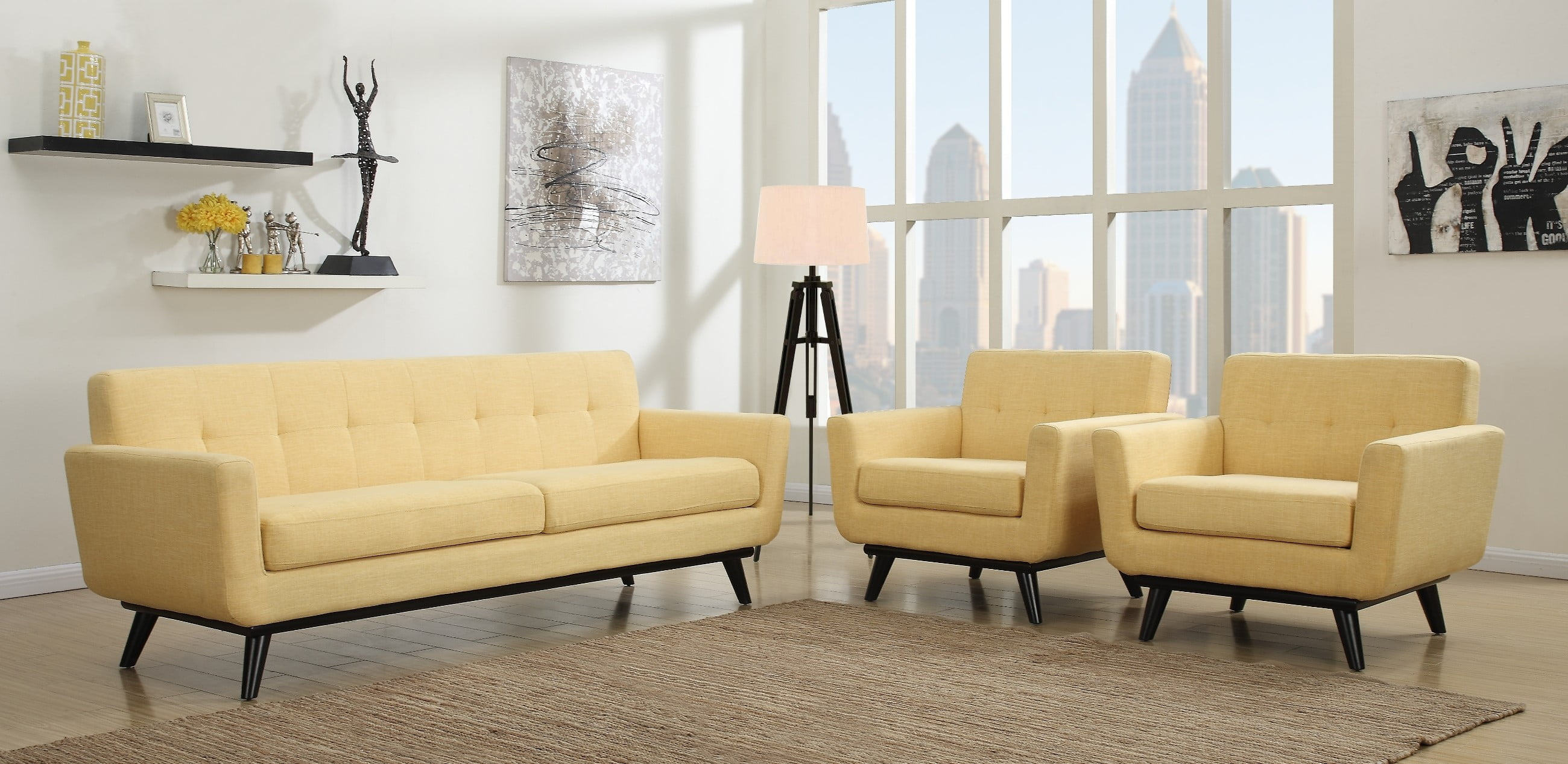 James Mustard Yellow Linen Sofa