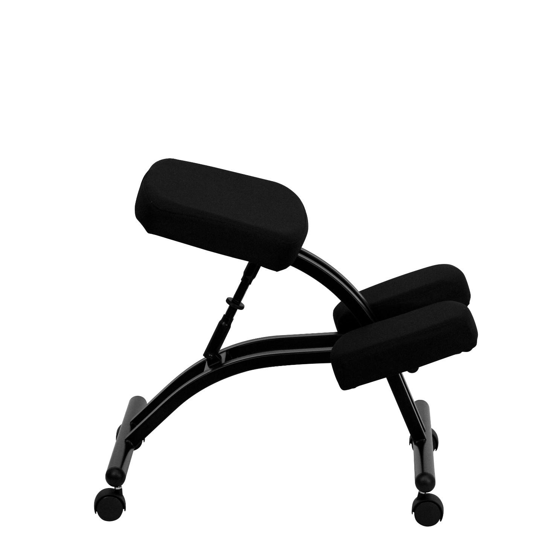 Black Fabric Mobile Ergonomic Kneeling Chair From Renegade