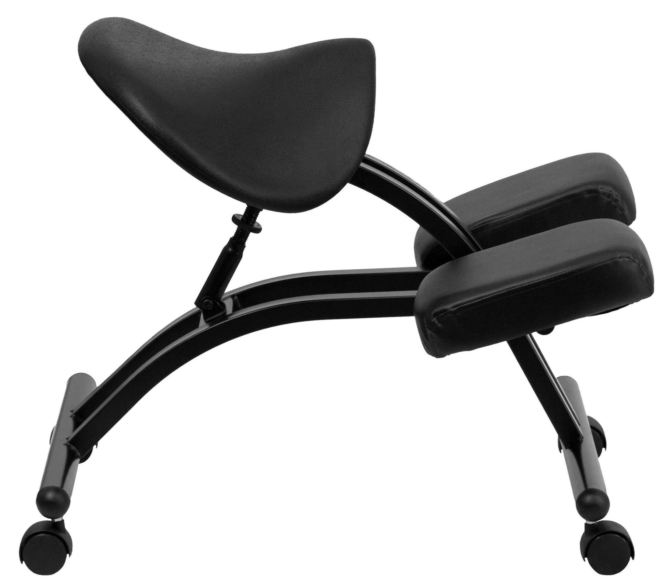 Black Saddle Seat Ergonomic Kneeling Chair From Renegade
