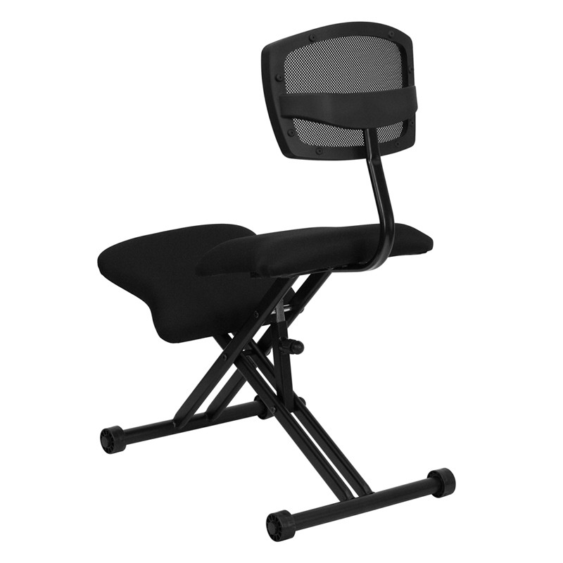 Black Ergonomic Kneeling Chair With Back From Renegade
