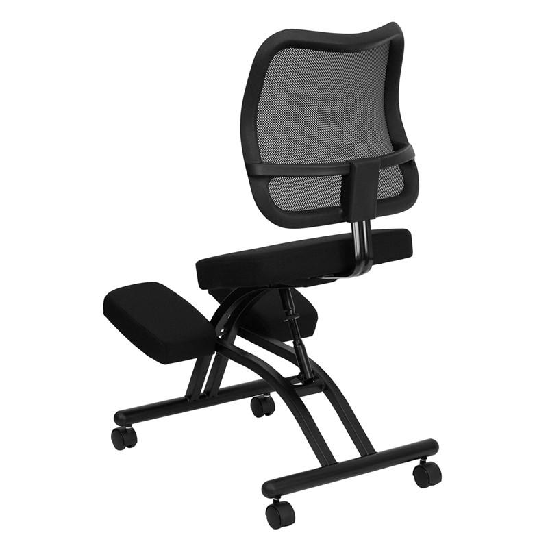 black ergonomic kneeling office chair with black back from renegade coleman furniture. Black Bedroom Furniture Sets. Home Design Ideas