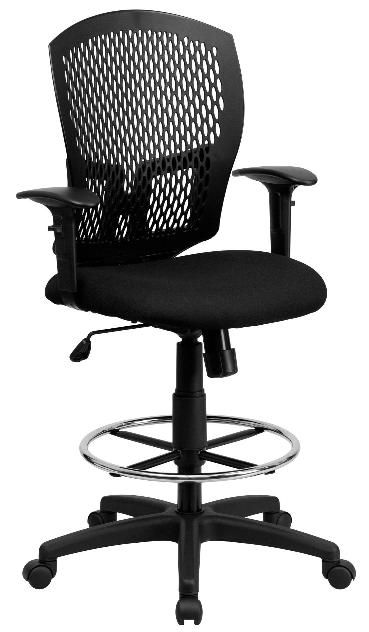 Designer Back Padded Seat And Arm Drafting Stool From
