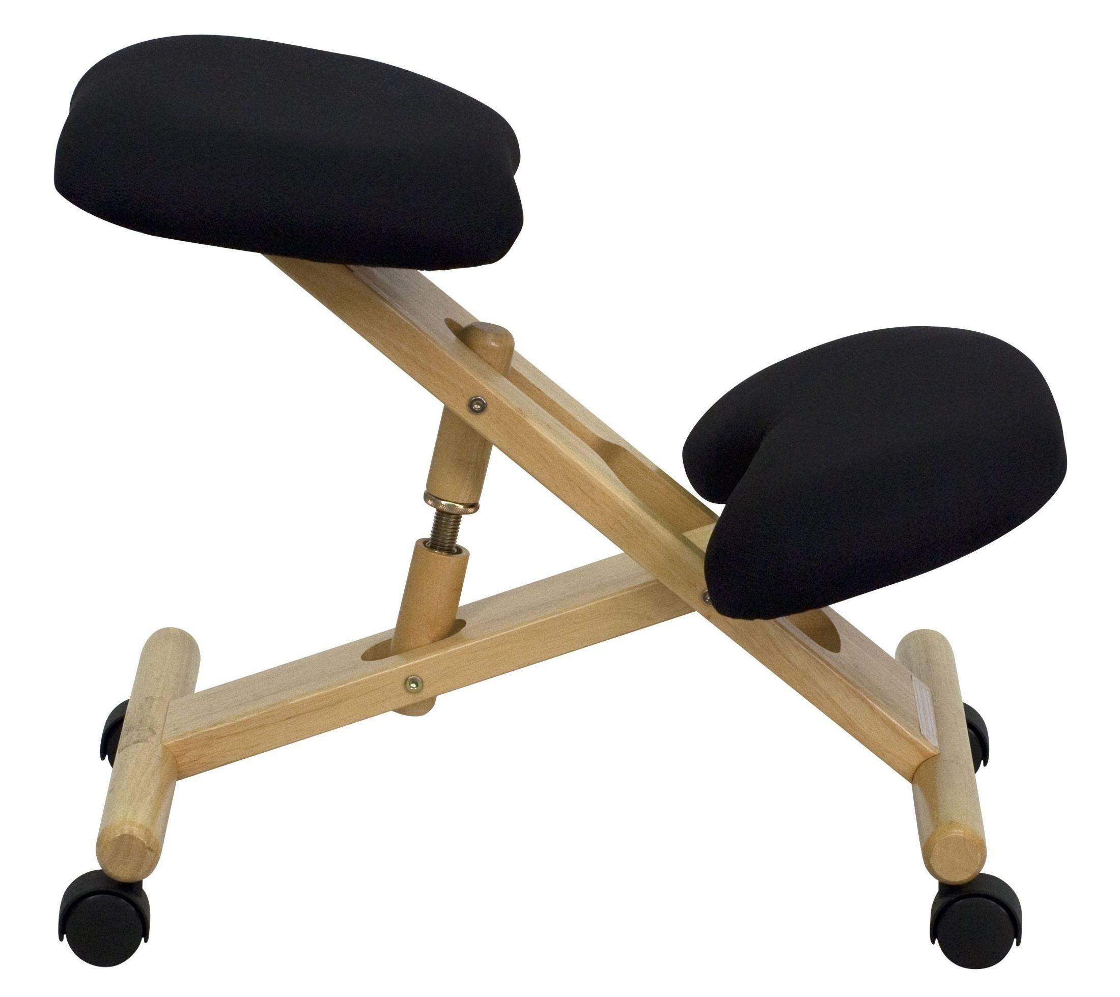 Mobile Wooden Ergonomic Kneeling Black Fabric Chair From