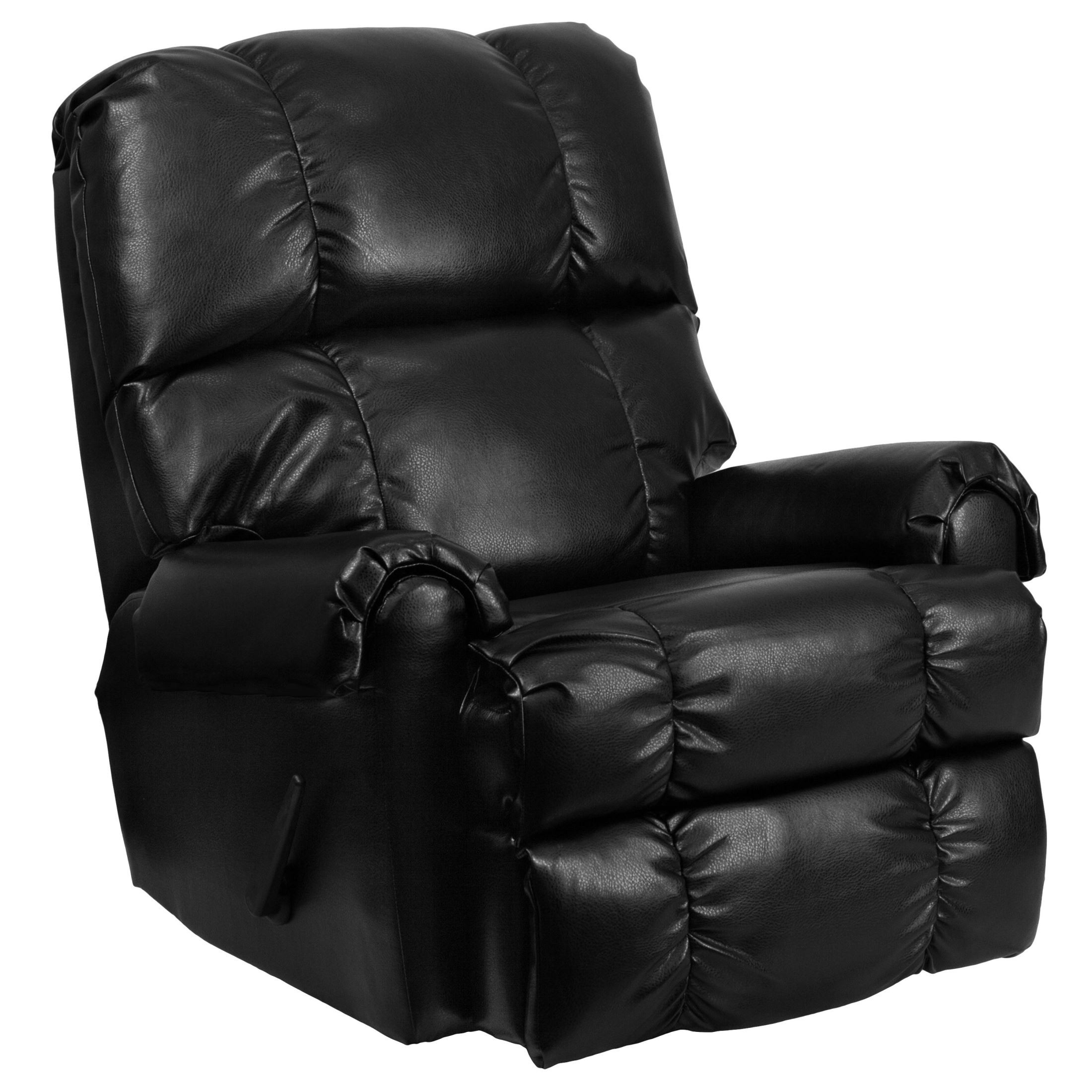 Cheap Recliner Sofas For Sale Black Leather Reclining: Ty Black Leather Rocker Recliner From Renegade