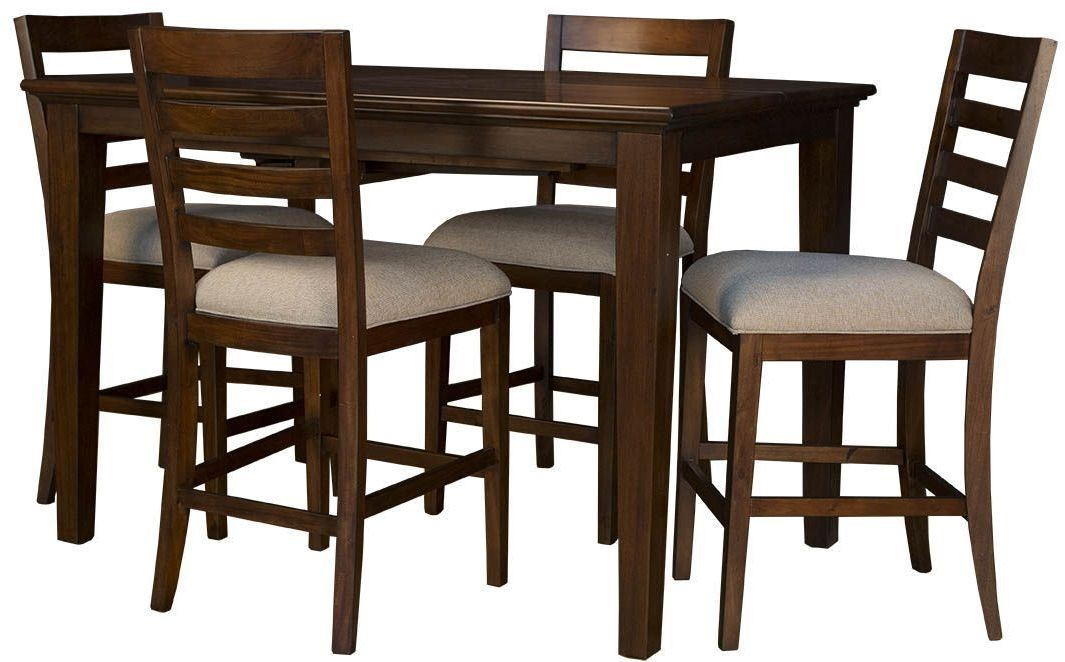 westlake 54 cherry brown extendable square gathering height dining table wslcb6750 a america. Black Bedroom Furniture Sets. Home Design Ideas