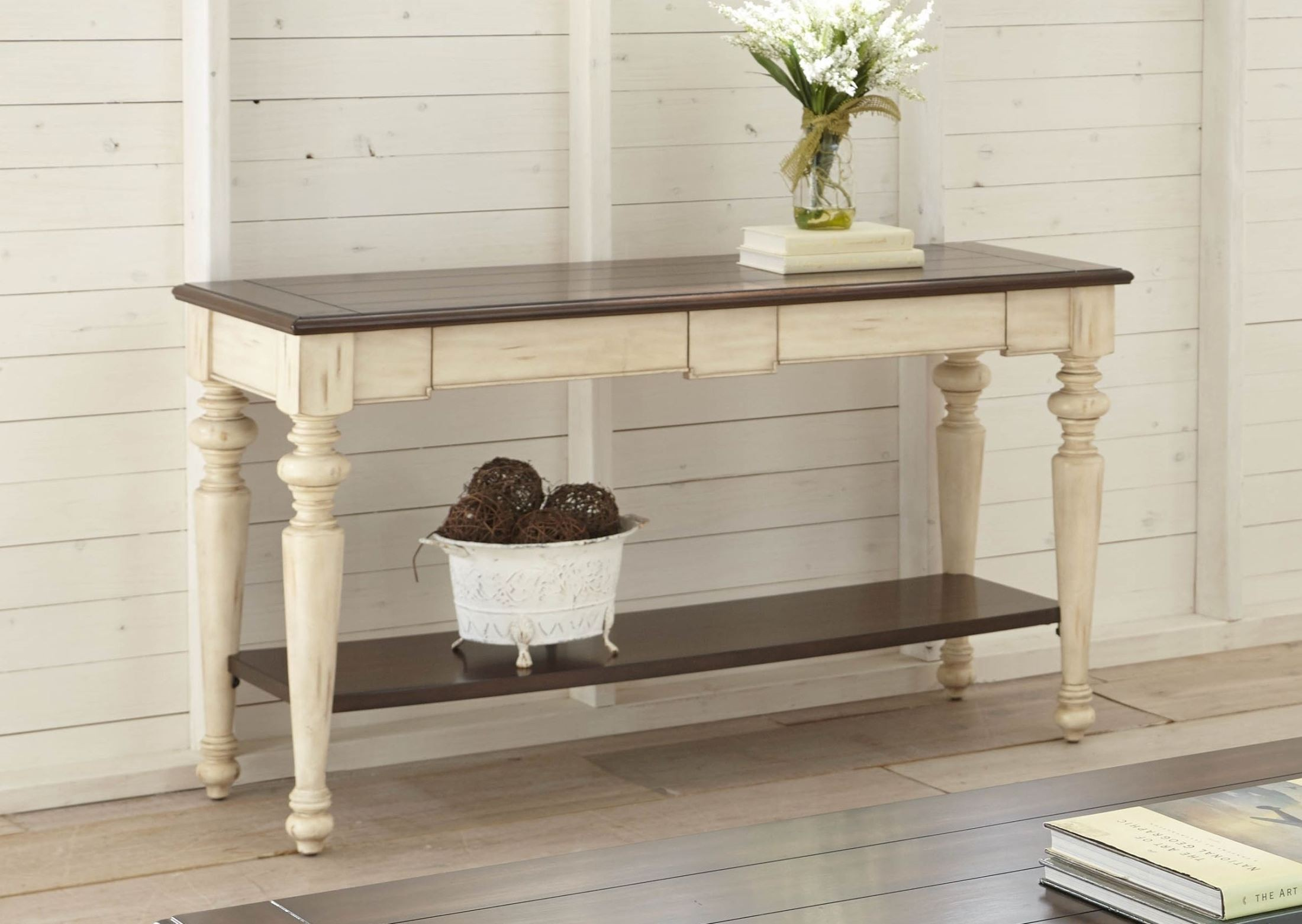 Wesley Antique White And Walnut Sofa Table From Steve