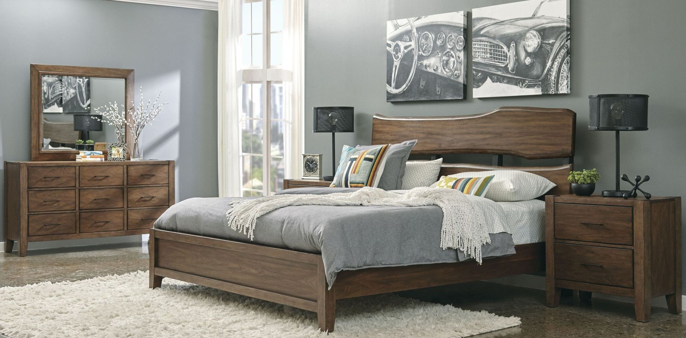 Lincoln Park Brown Live Edge Panel Bedroom Set From Samuel Lawrence |  Coleman Furniture