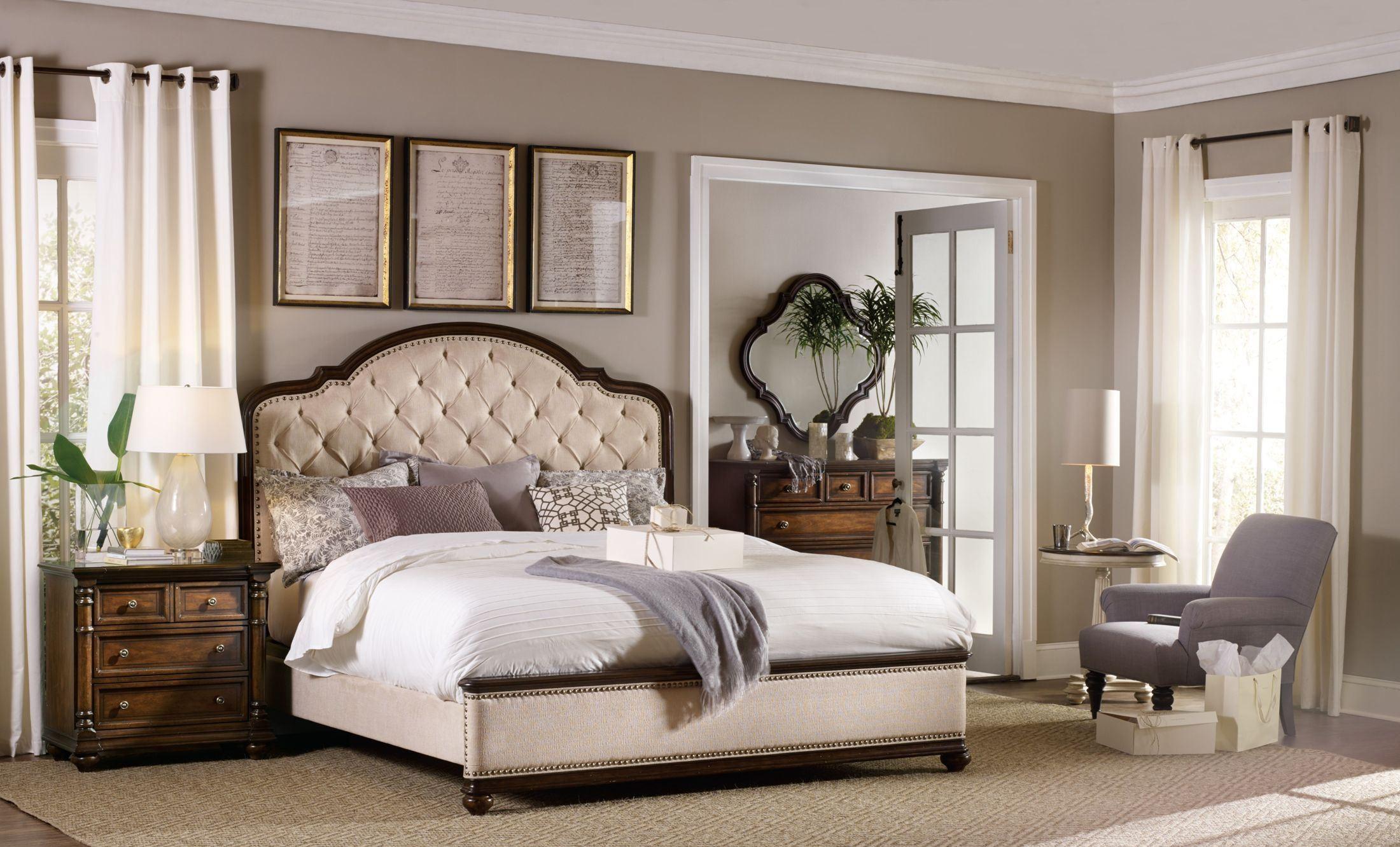 leesburg beige upholstered bedroom set from hooker coleman furniture. Black Bedroom Furniture Sets. Home Design Ideas