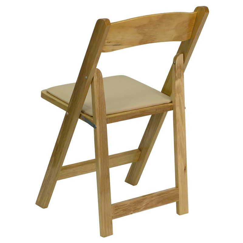 Hercules Natural Wood Folding Chair with Padded Seat from Renegade