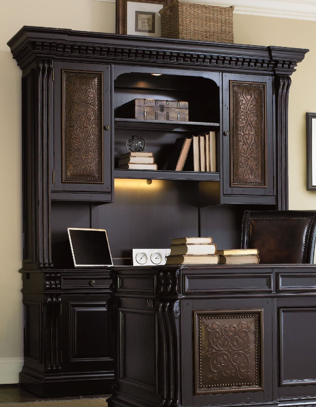 Telluride Black Computer Credenza With Hutch From Hooker