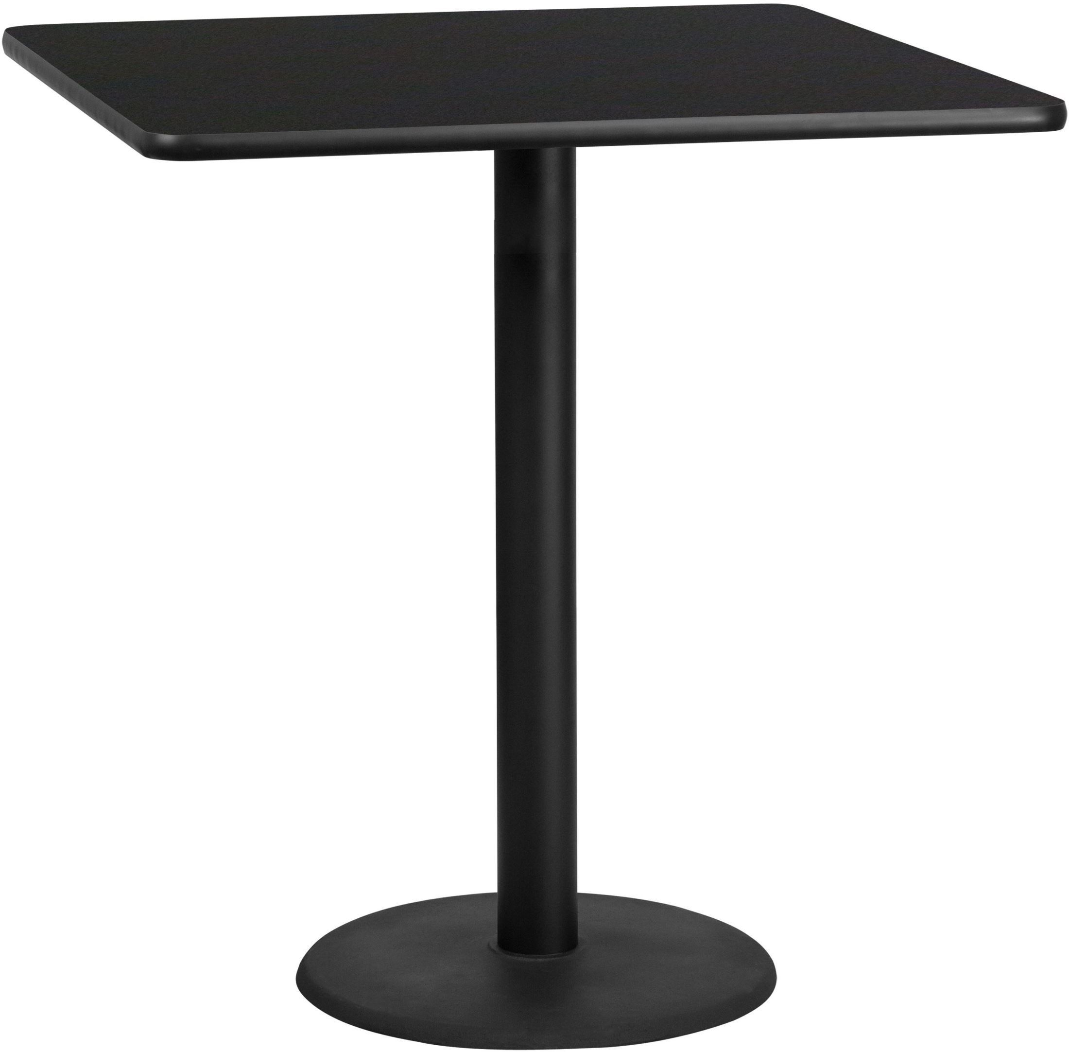 42 square black laminate table top with 24 round bar for Table bar 6 personnes