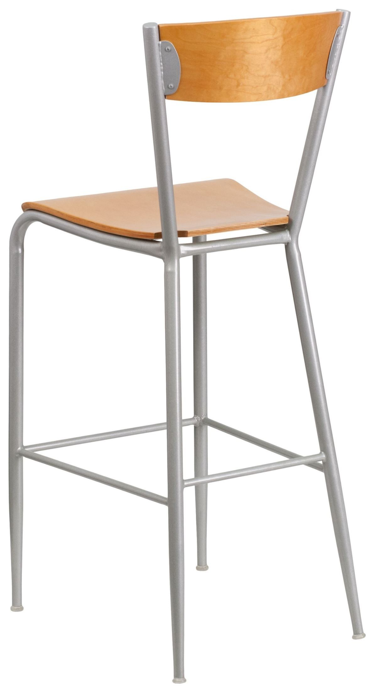 Invincible Series Natural Wood Back Metal Restaurant Barstool From Renegade Coleman Furniture