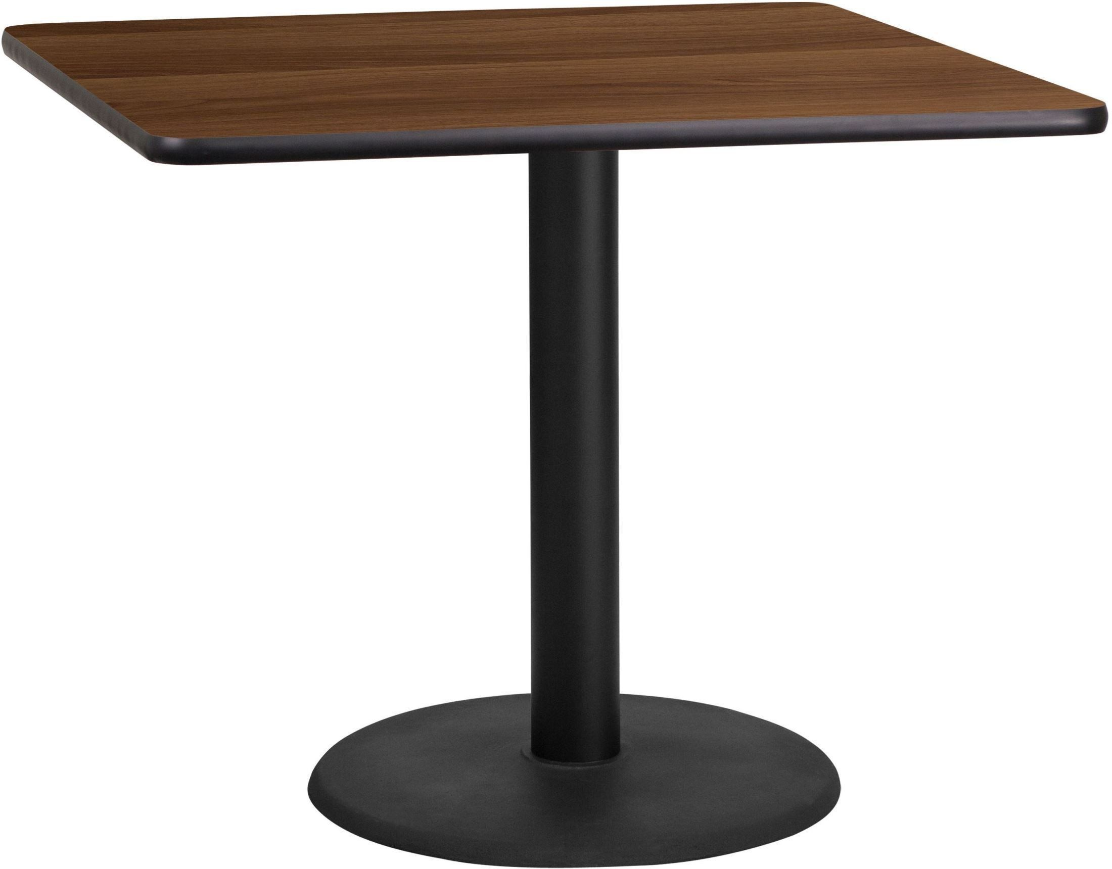 """Table Height 36: 36"""" Square Walnut Laminate Table Top With 24"""" Round Table"""