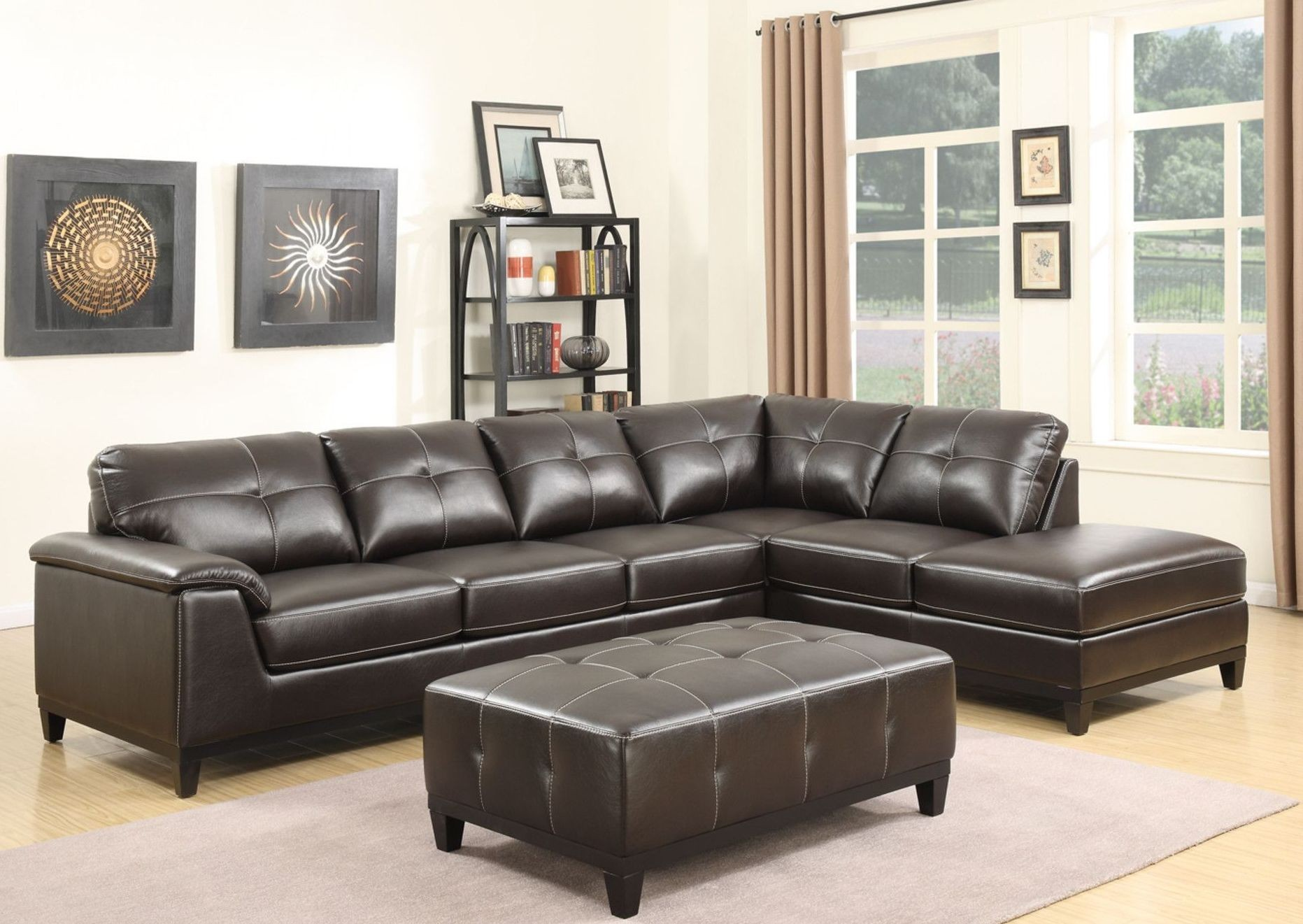 Marquis Walnut Brown 3 Piece Sectional From Emerald Home