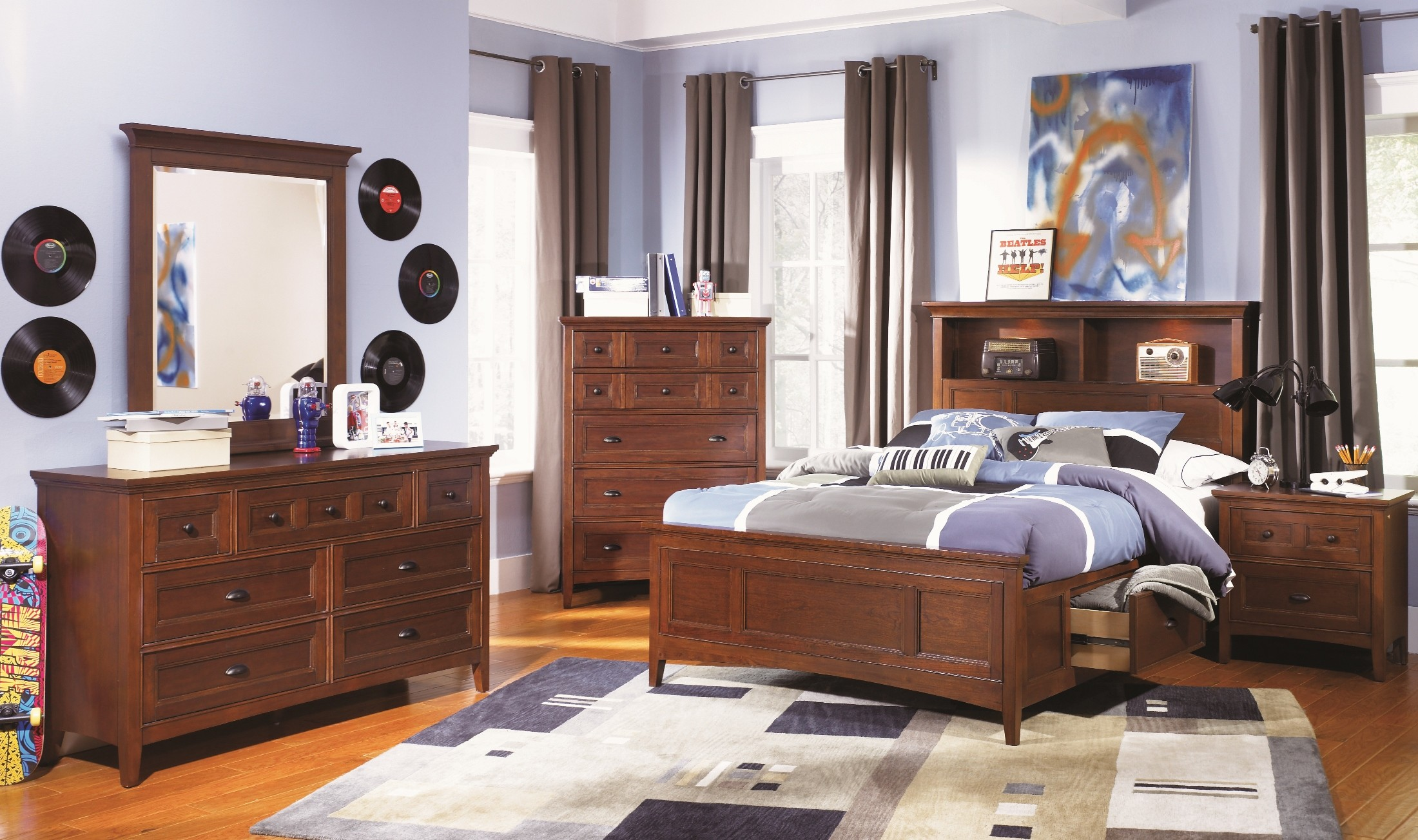 Riley youth bookcase storage bedroom set from magnussen home y1873 58h 54f 55r coleman furniture for Youth storage bedroom furniture