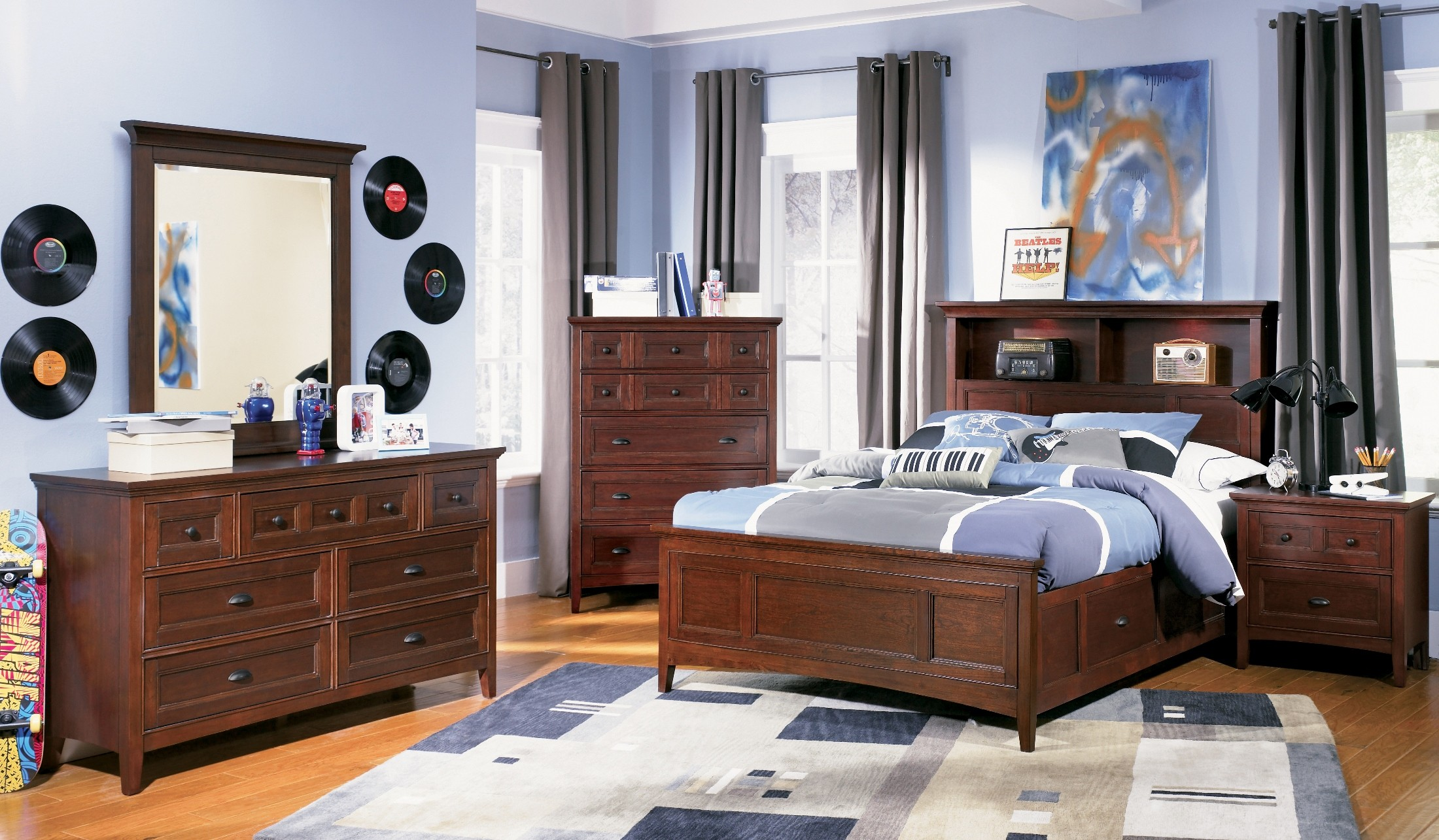 Riley Bookcase Bedroom Set From Magnussen Home Y1873 58h 54f 54r Coleman Furniture