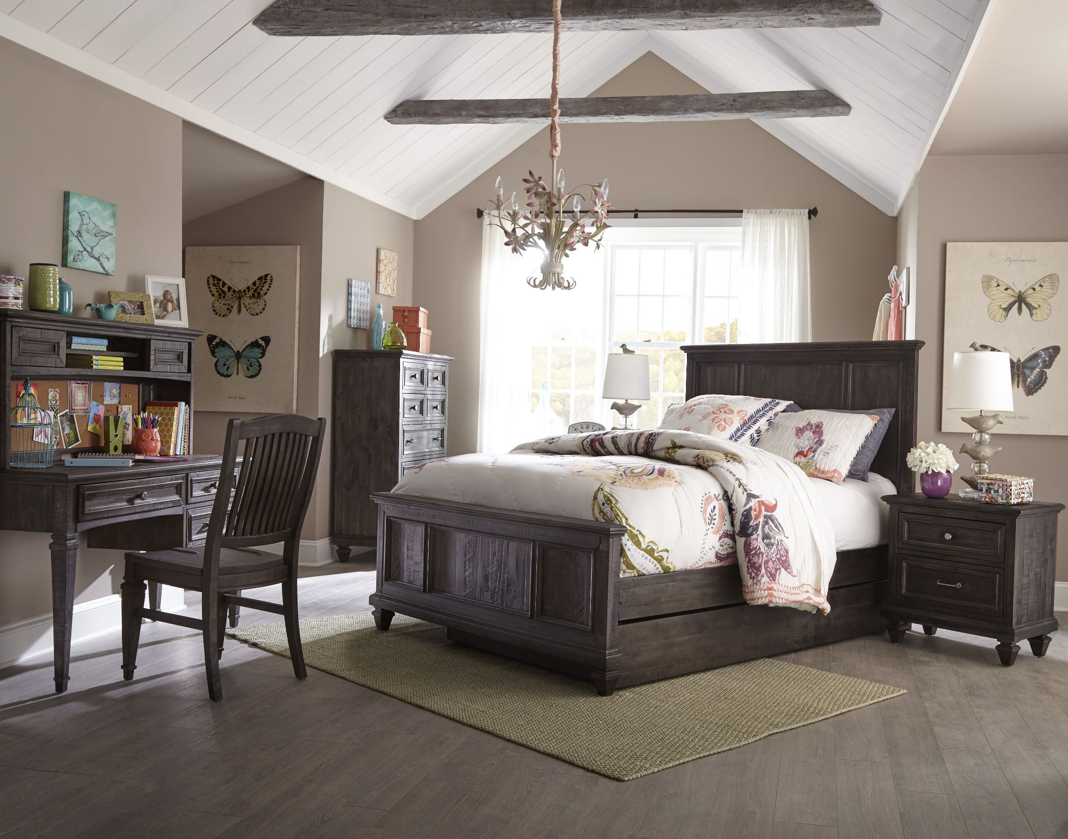 Calistoga Weathered Charcoal Youth Panel Bedroom Set from
