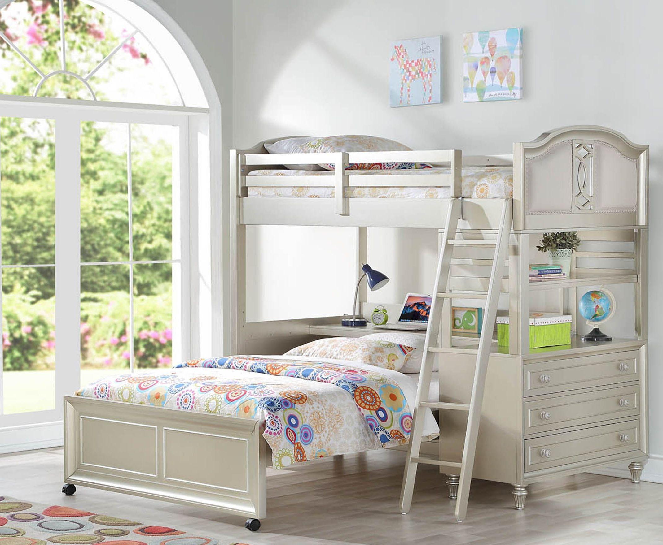 Regency Park Platinum Silver 5 Piece Loft Bedroom Set From