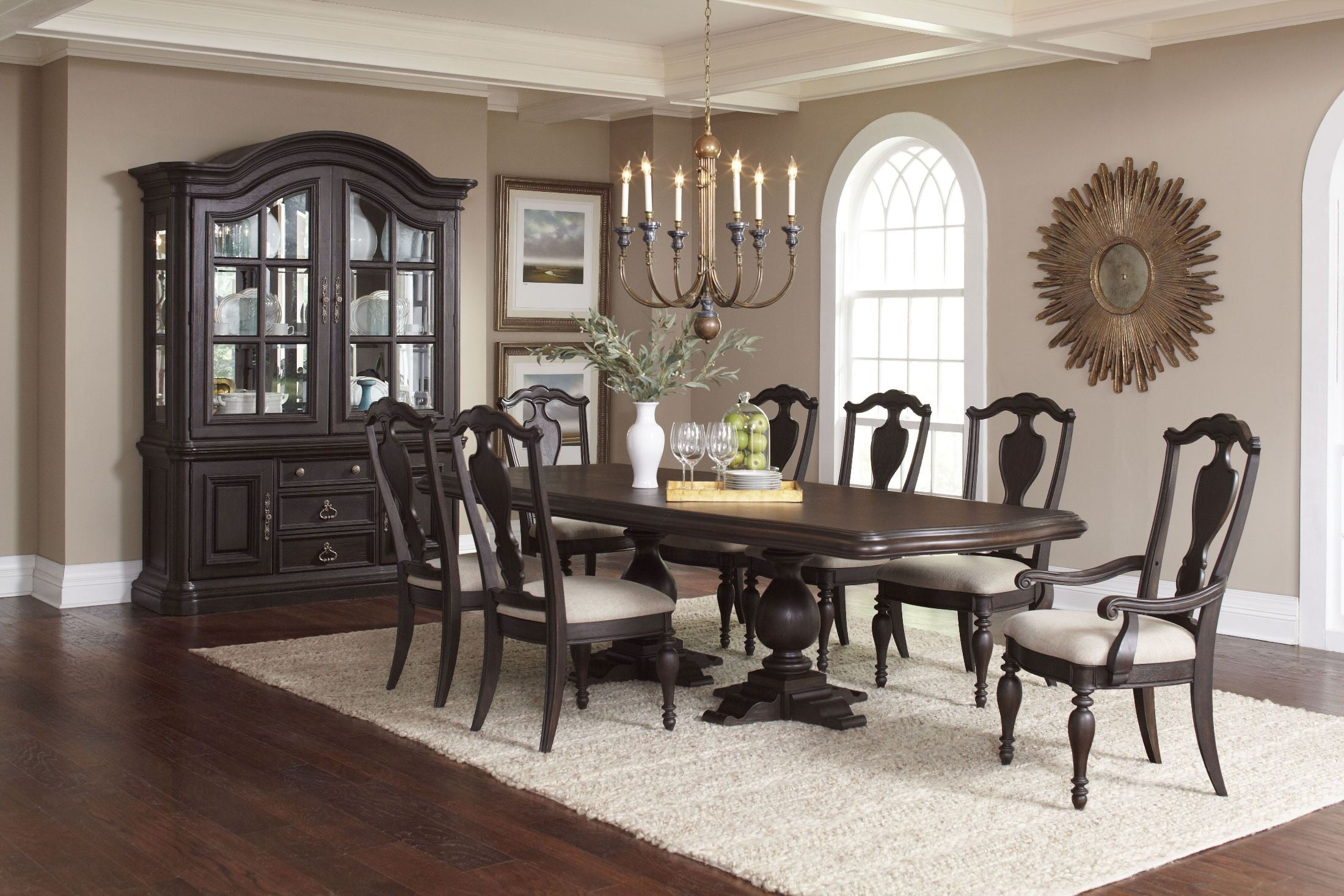 Palisade Distressed Dark Brown Extendable Double Pedestal ...