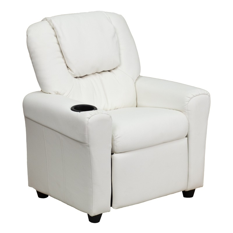 White Kids Recliner With Cup Holder And Headrest From