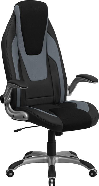 High Back Black & Gray Executive Flip Up Arm Office Chair ...