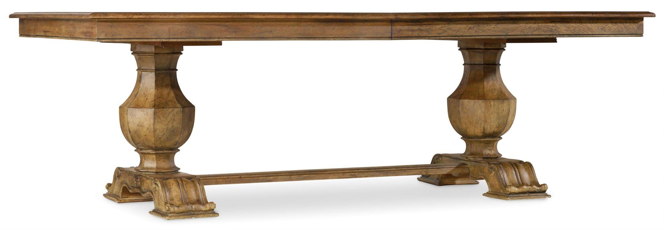 sanctuary brown rectangular trestle extendable dining table from hooker coleman furniture. Black Bedroom Furniture Sets. Home Design Ideas