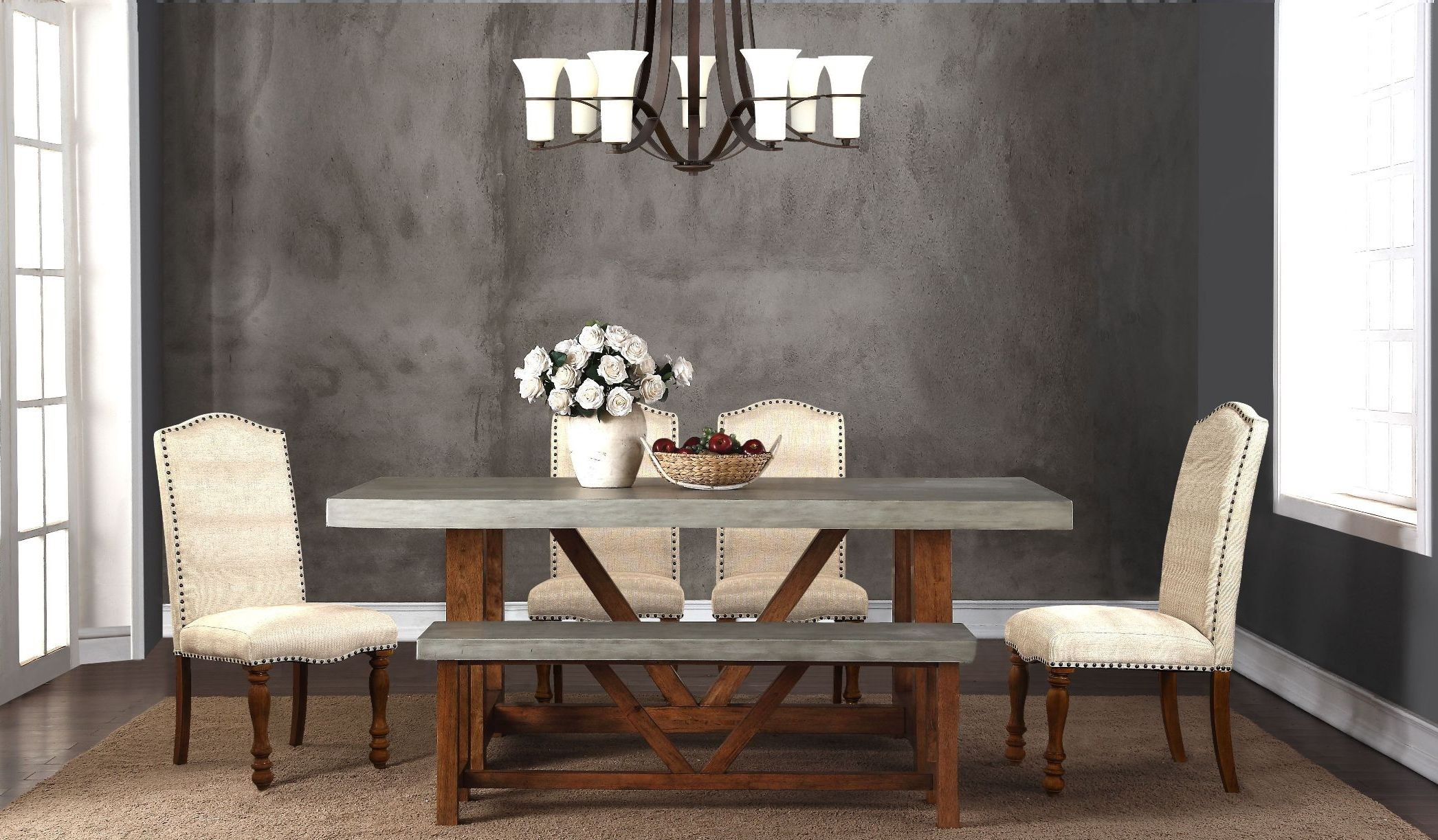 "Bohemian Gray And Brown 42"" Cement Dining Room Set From"