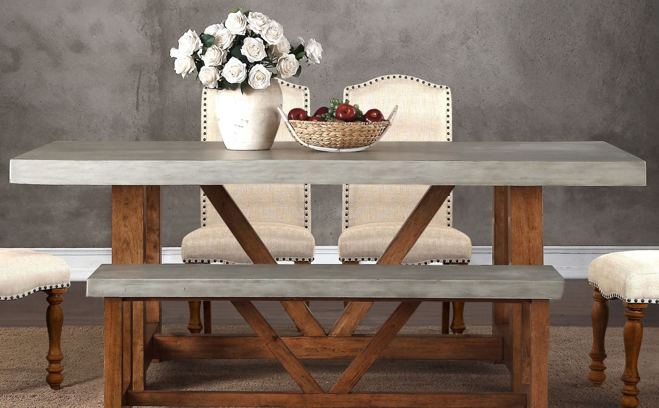 "Bohemian Gray And Brown 42"" Cement Dining Table From"