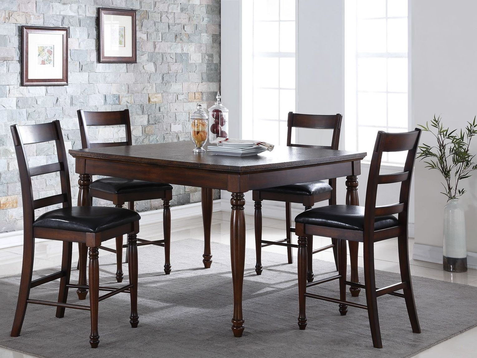 Breckenridge 54 brown counter height dining room set from for Brown dining room set