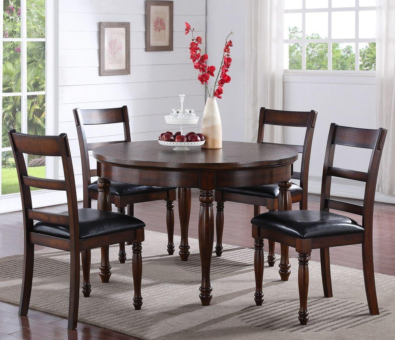 "Dining Room Sets Round: Breckenridge Brown 48"" Round Dining Room Set, ZBRG-8080"